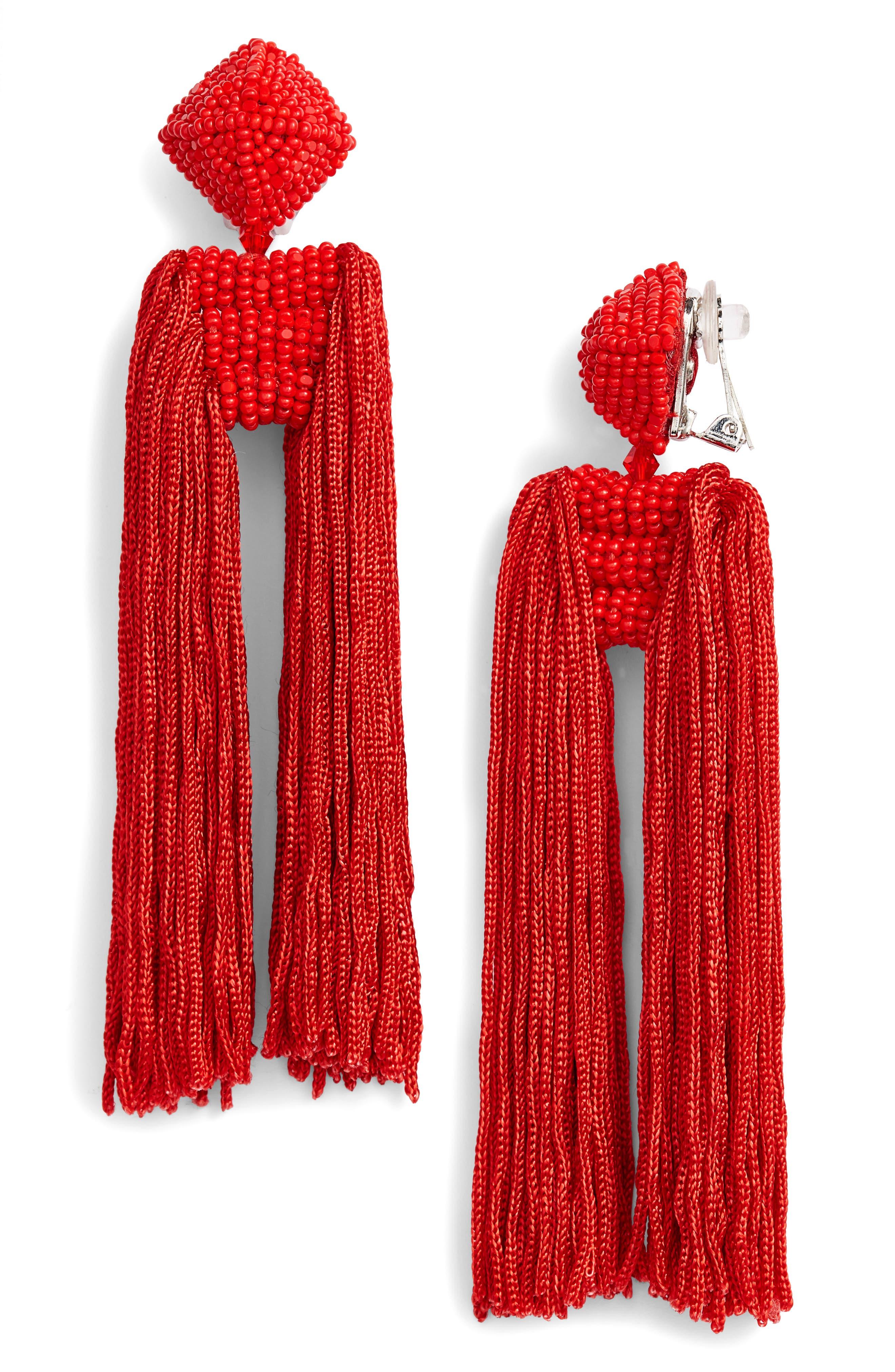 Dupio Tassel Drop Earrings,                         Main,                         color, Goji Berry