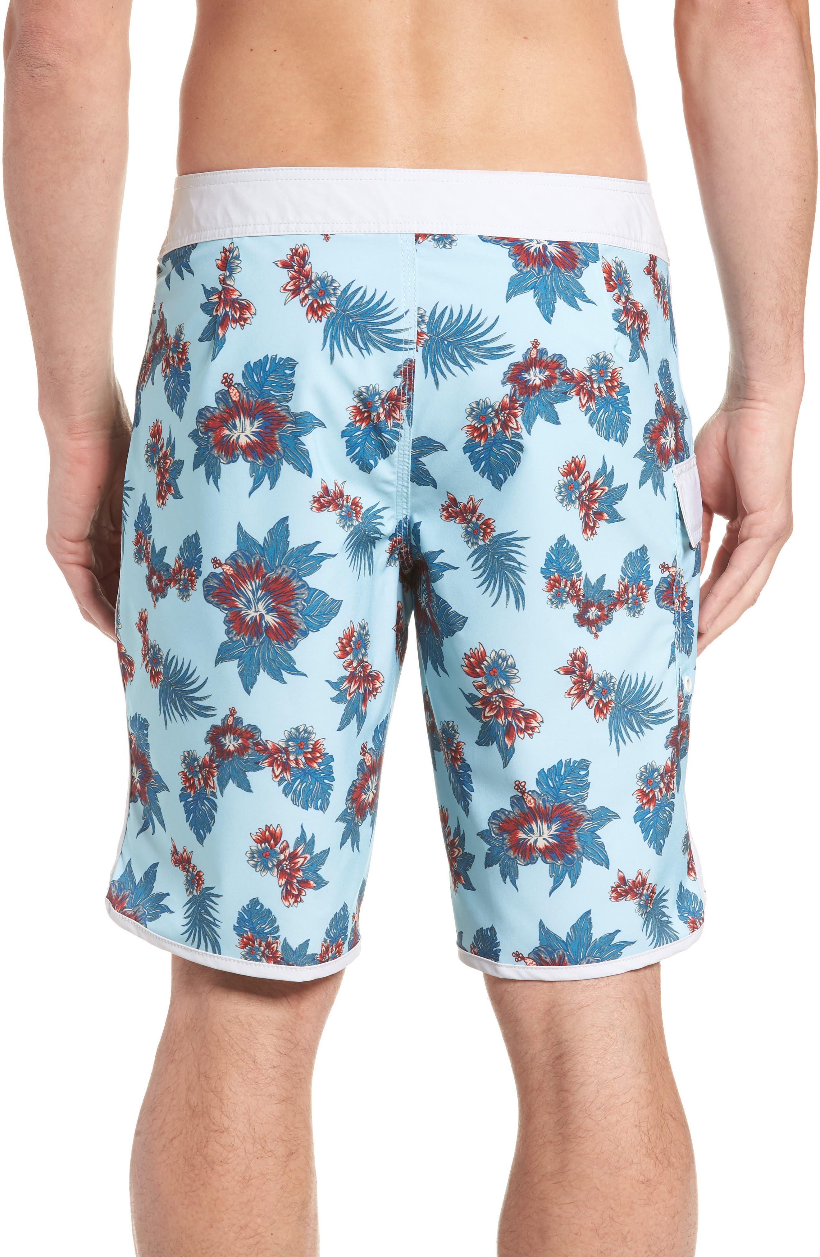 Jeff McMillan Floral Swim Trunks,                             Alternate thumbnail 2, color,                             Blue Floral