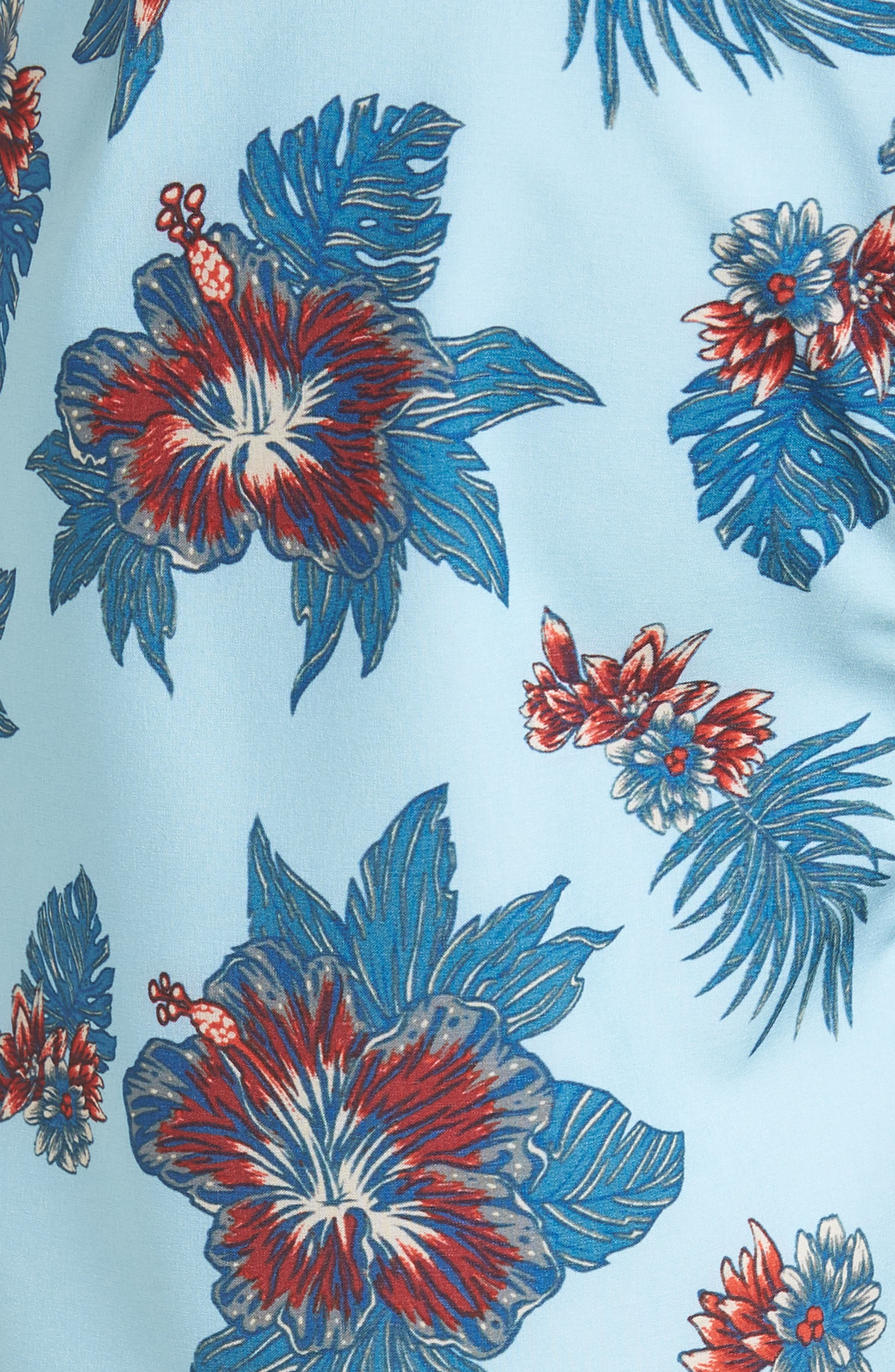 Jeff McMillan Floral Swim Trunks,                             Alternate thumbnail 5, color,                             Blue Floral