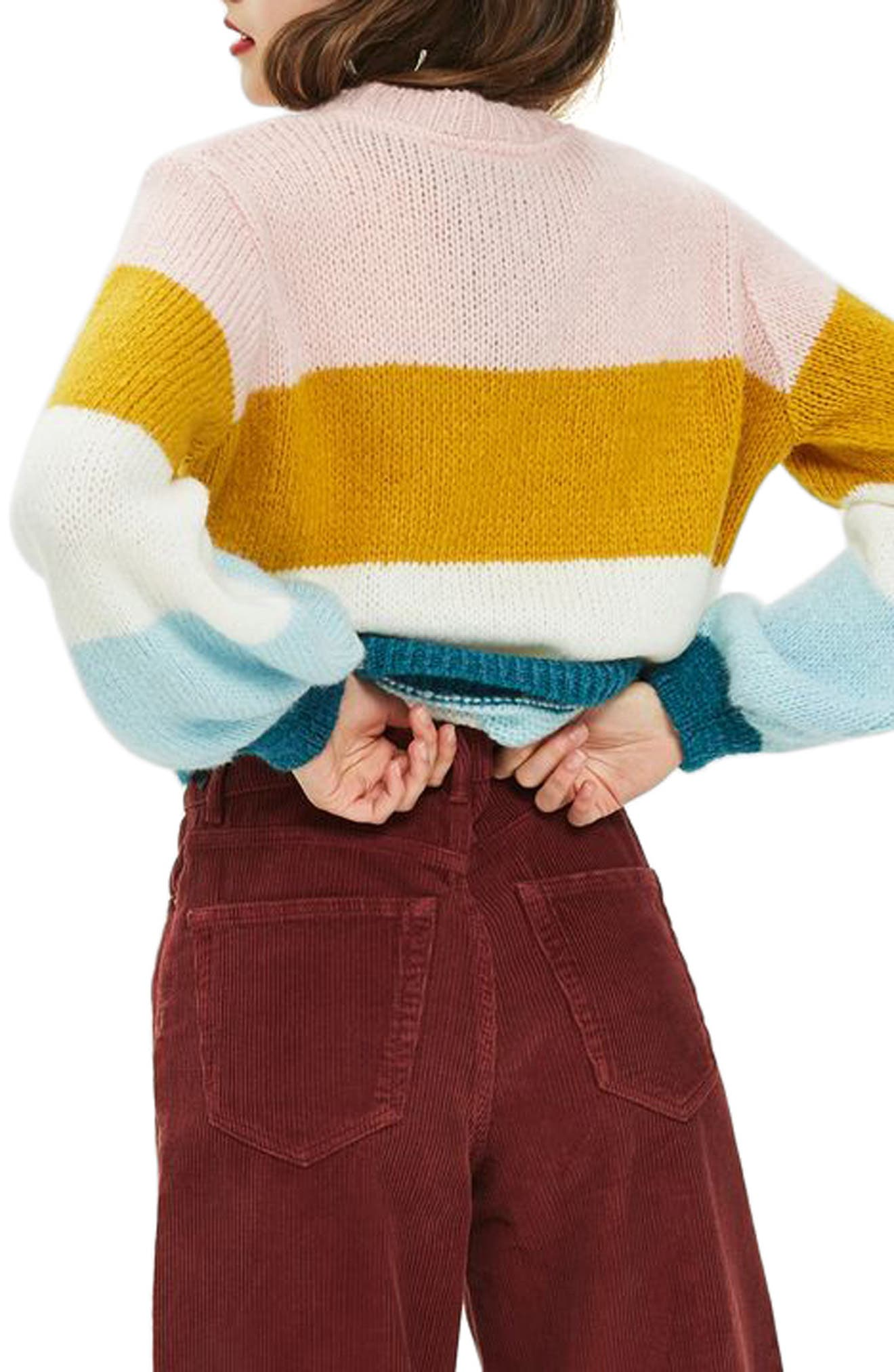 Colorblock Knit Pullover,                             Alternate thumbnail 2, color,                             Ivory Multi