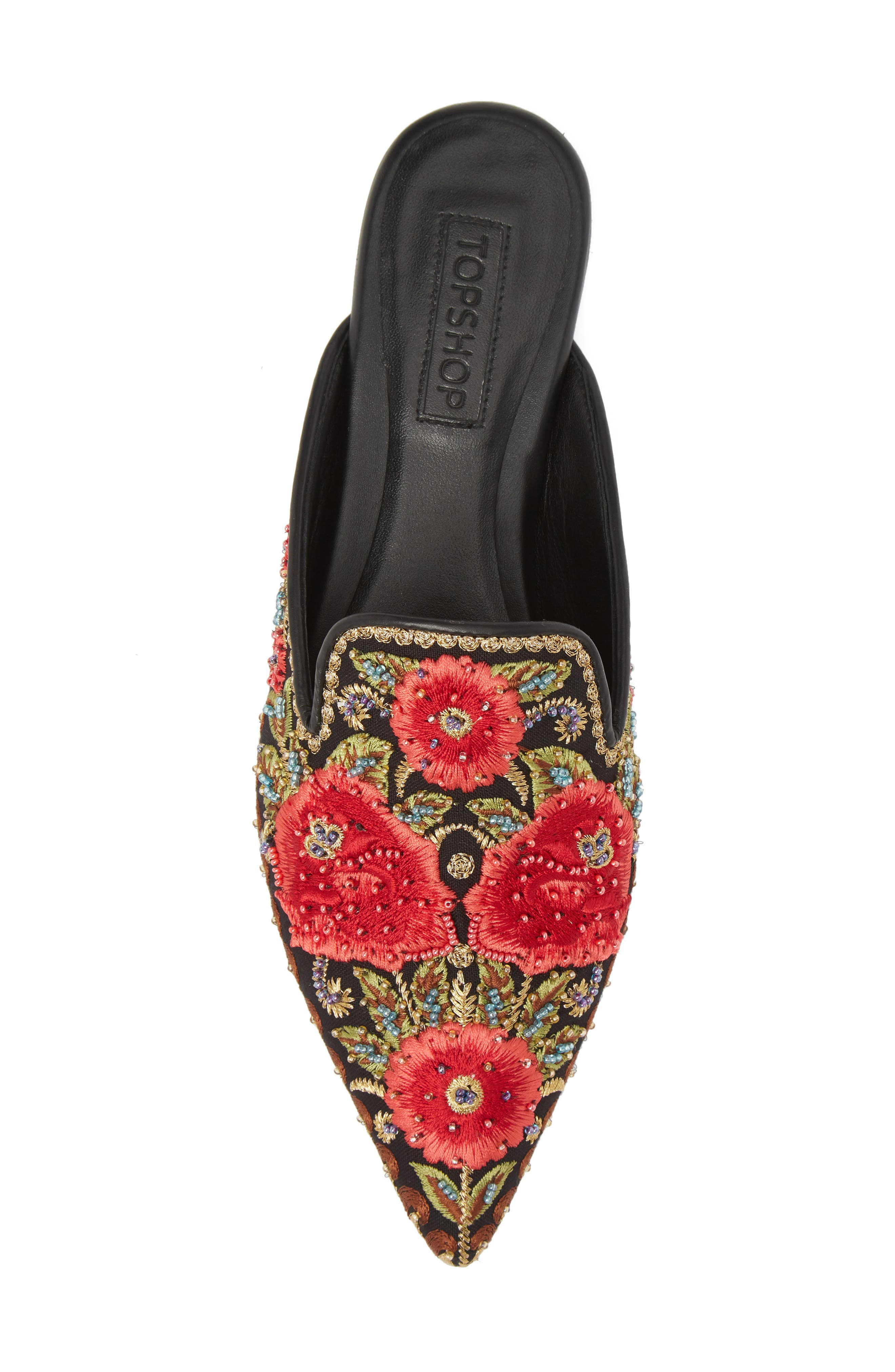 Katja Embroidered Mule,                             Alternate thumbnail 5, color,                             Black Multi