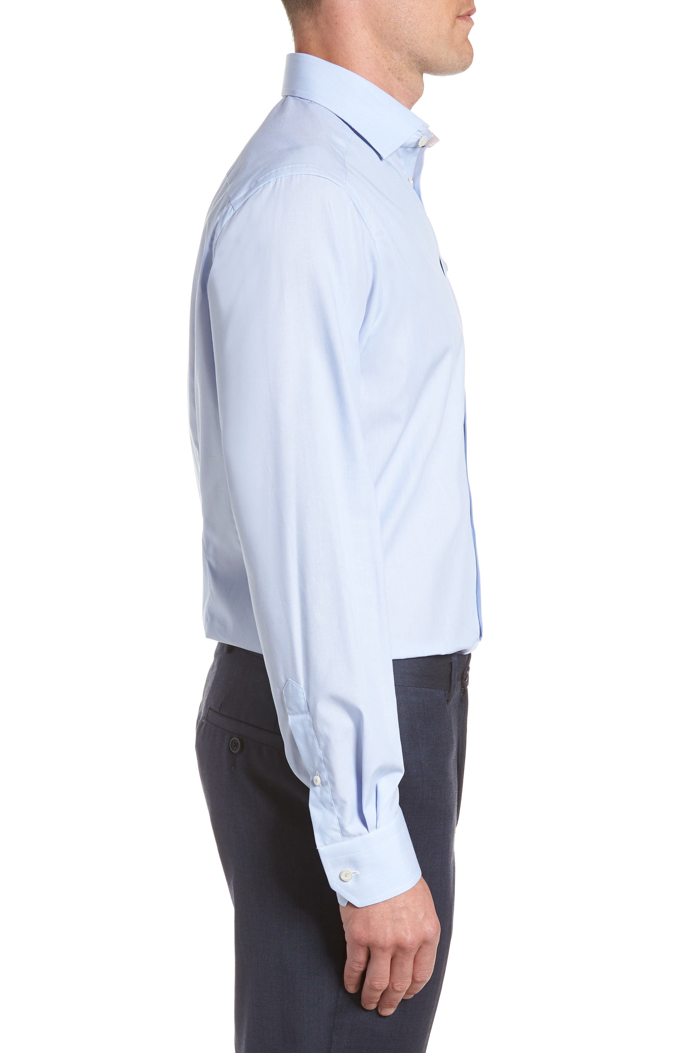 Contemporary Fit Solid Dress Shirt,                             Alternate thumbnail 4, color,                             Blue