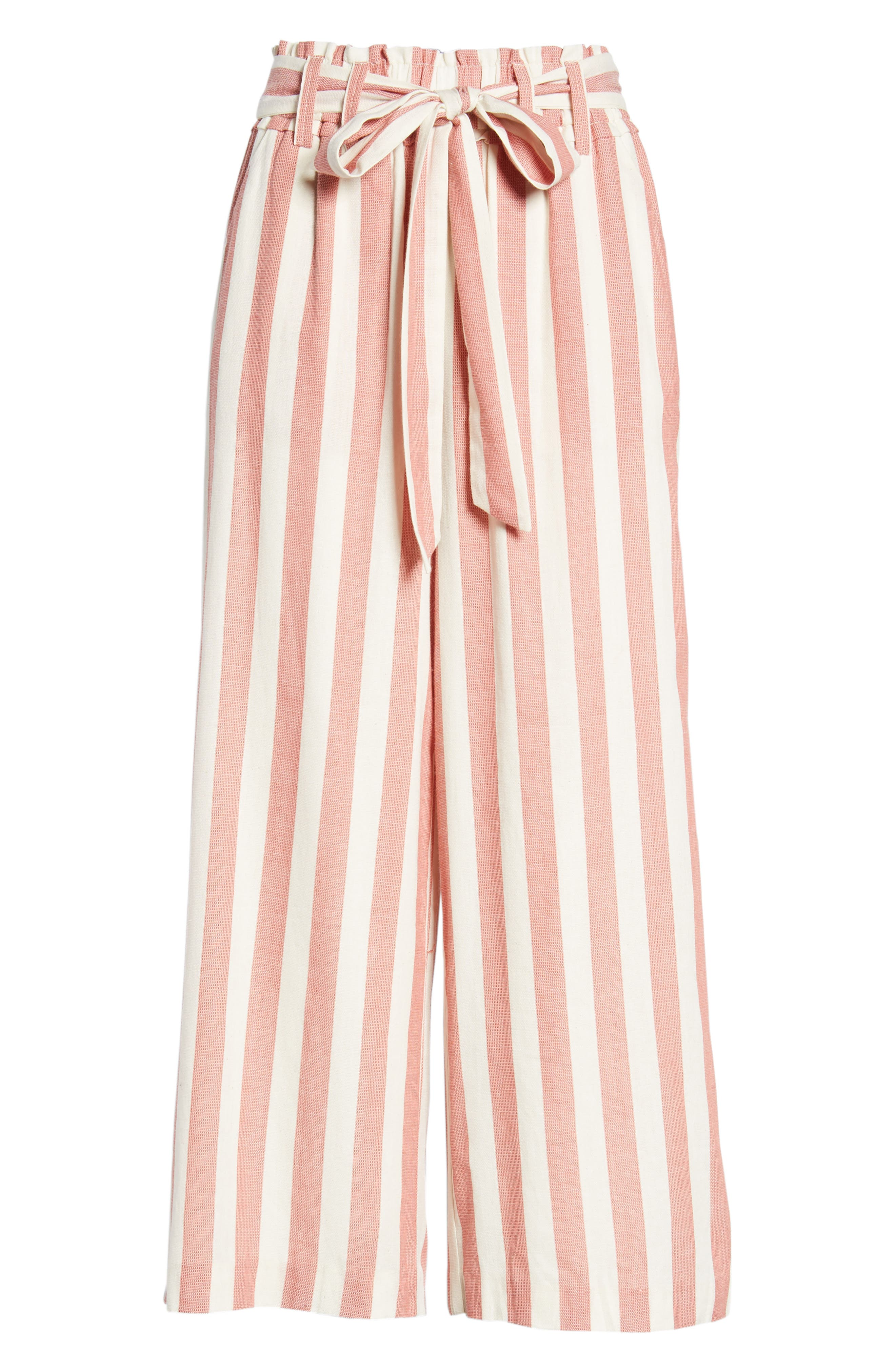 Stripe Paperbag Waist Pants,                             Alternate thumbnail 7, color,                             Red Stripe