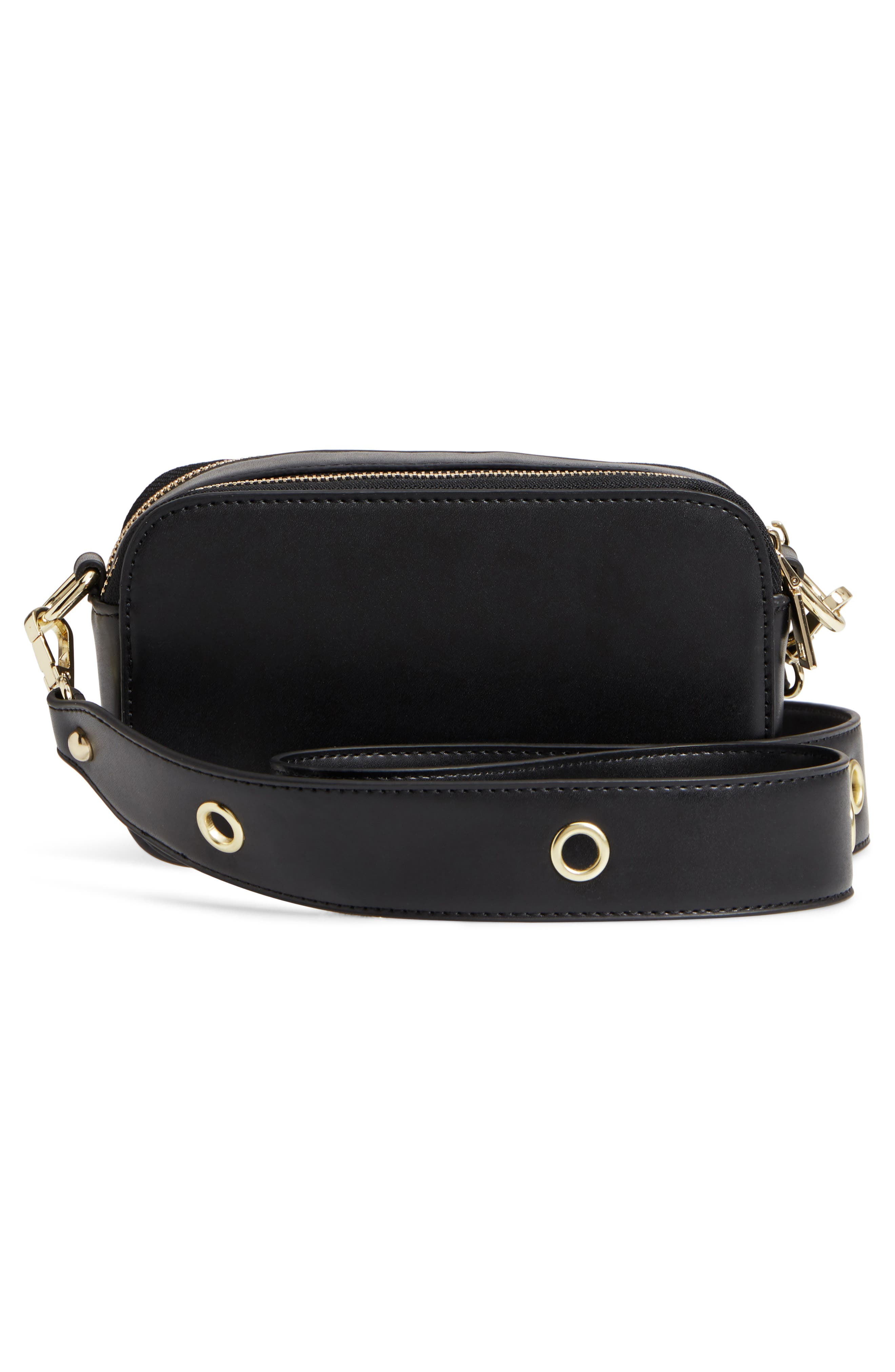 Dyana Grommet Faux Leather Crossbody Bag,                             Alternate thumbnail 3, color,                             Black