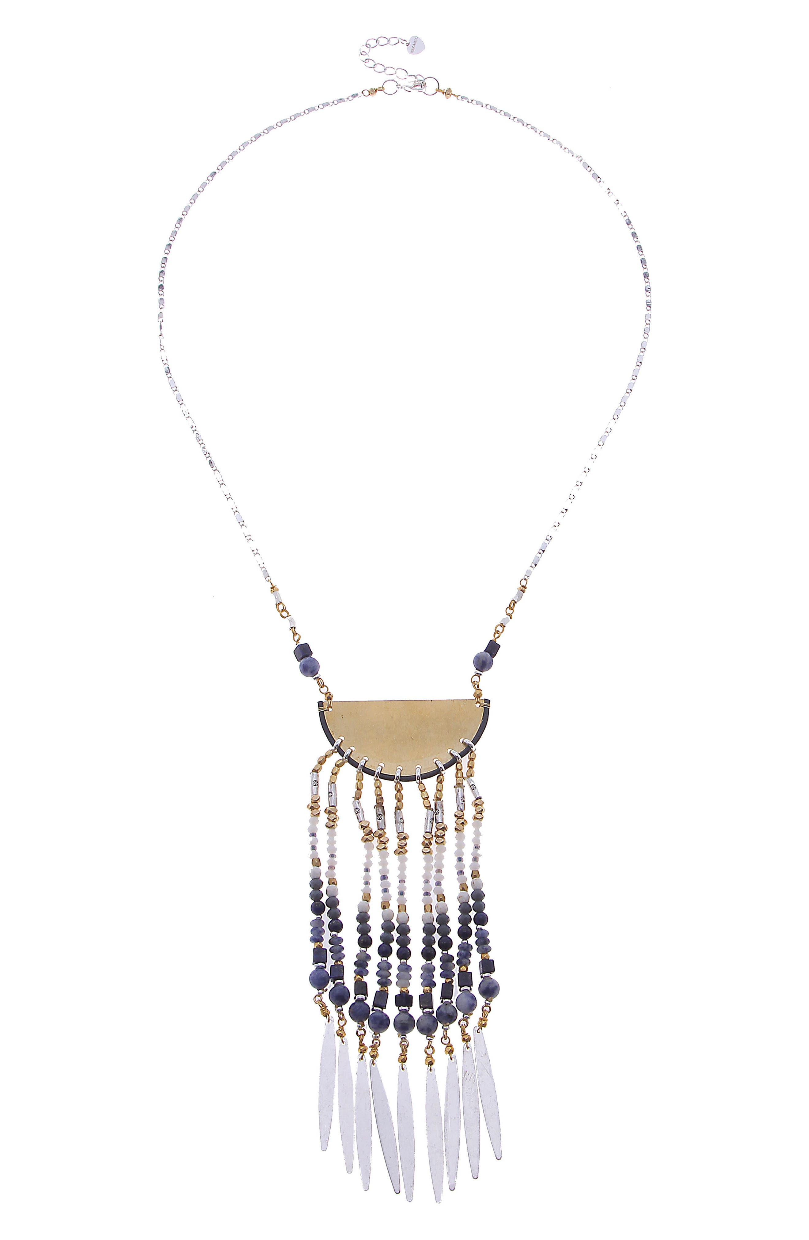 Beaded Fringe Pendant Necklace,                         Main,                         color, Blue