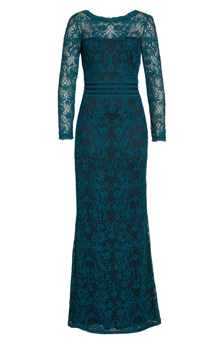 Embroidered Lace Gown,                         Main,                         color, Pine/ Black