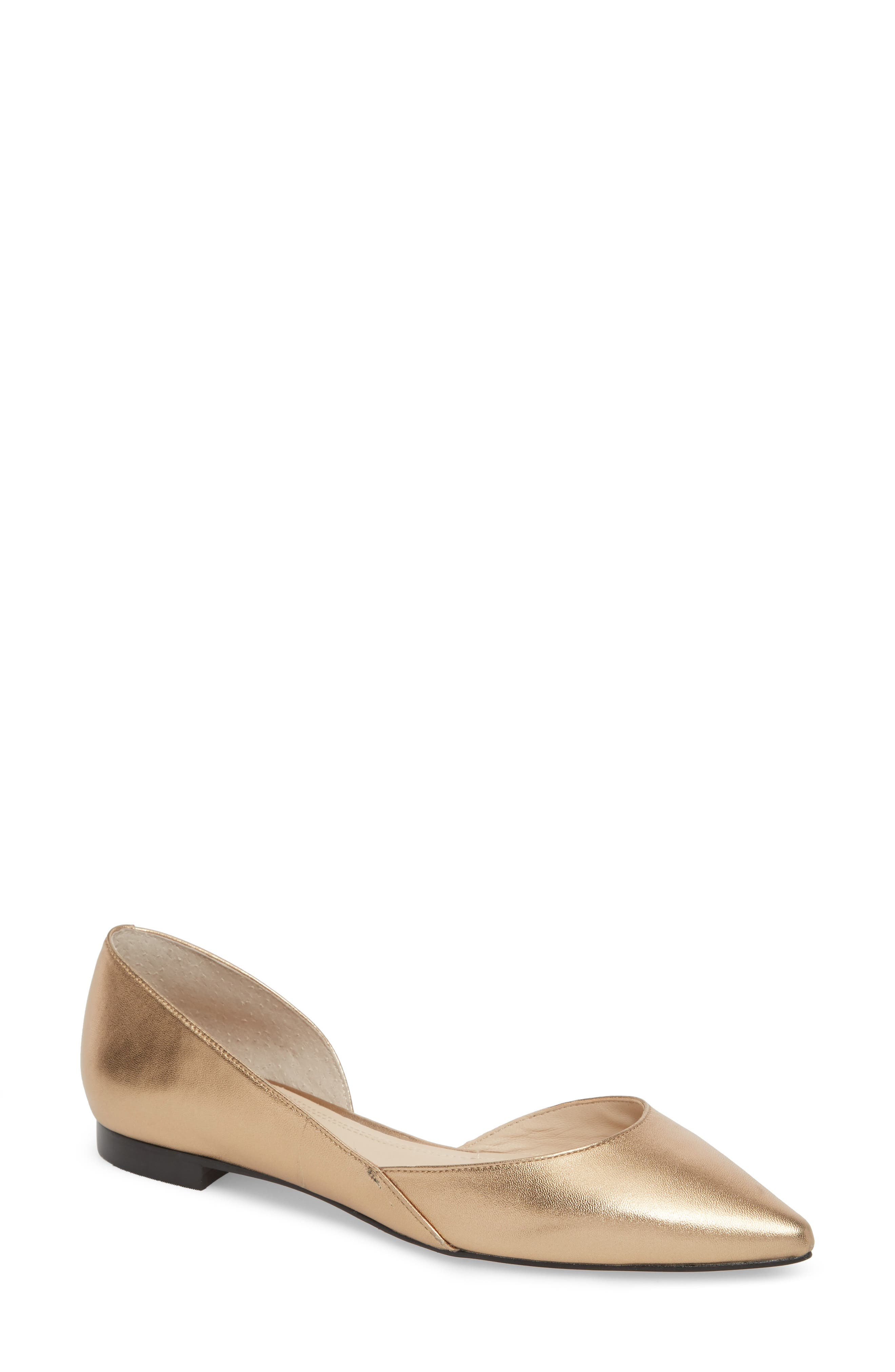'Sunny' Half d'Orsay Flat,                             Main thumbnail 1, color,                             Gold Leather