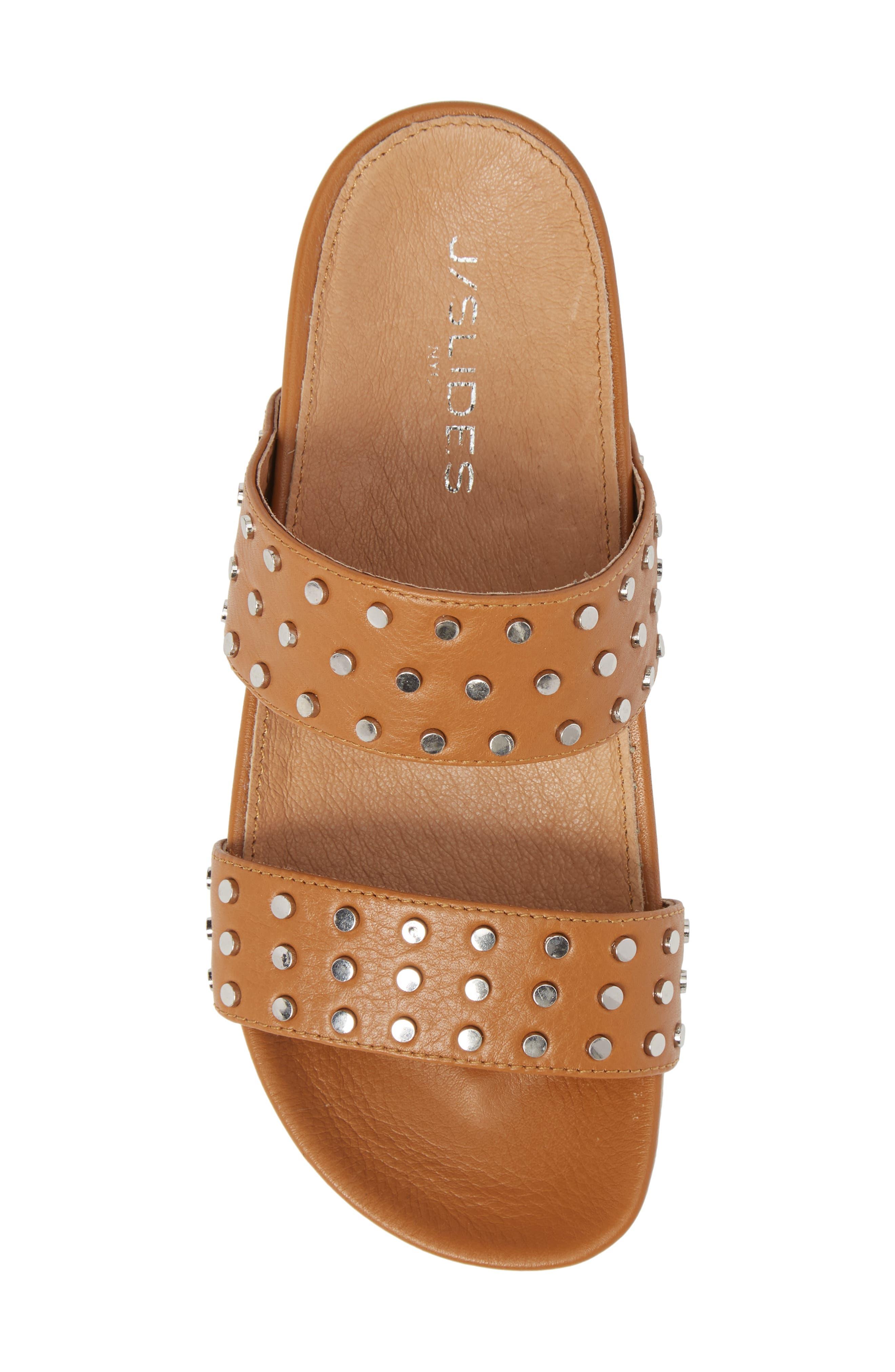 Erika Studded Slide Sandal,                             Alternate thumbnail 5, color,                             Tan Leather