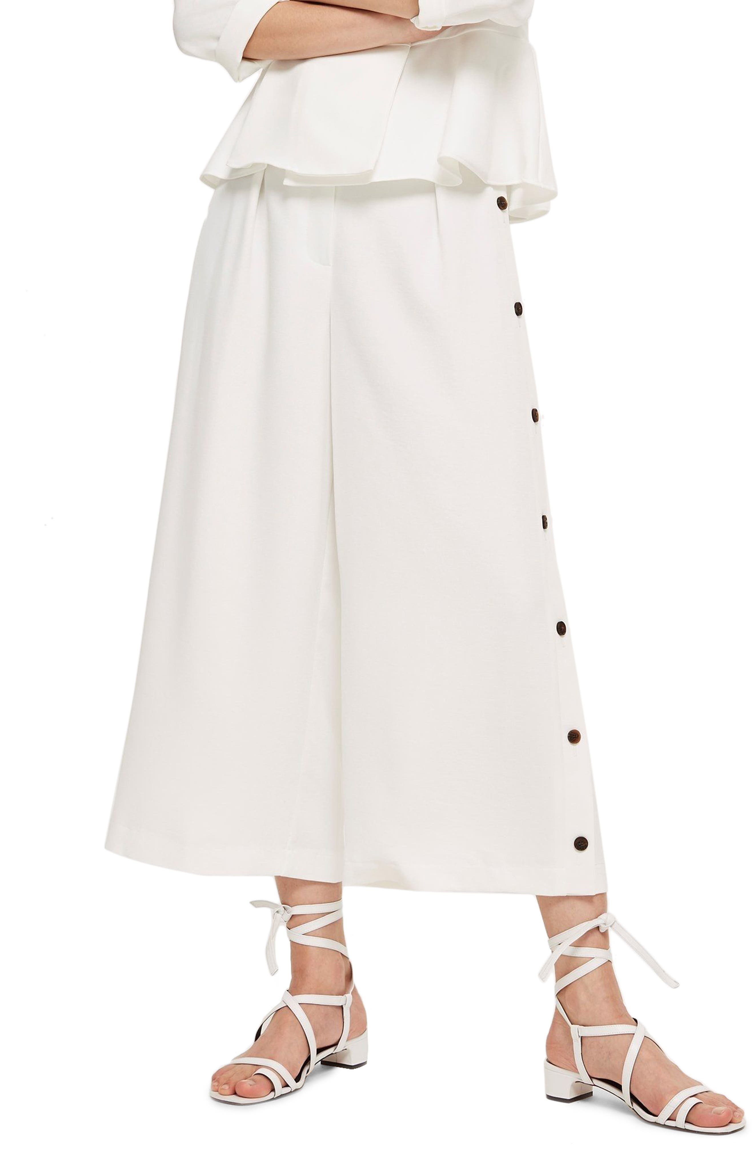 Horn Button Side Crop Wide Leg Trousers,                         Main,                         color, White