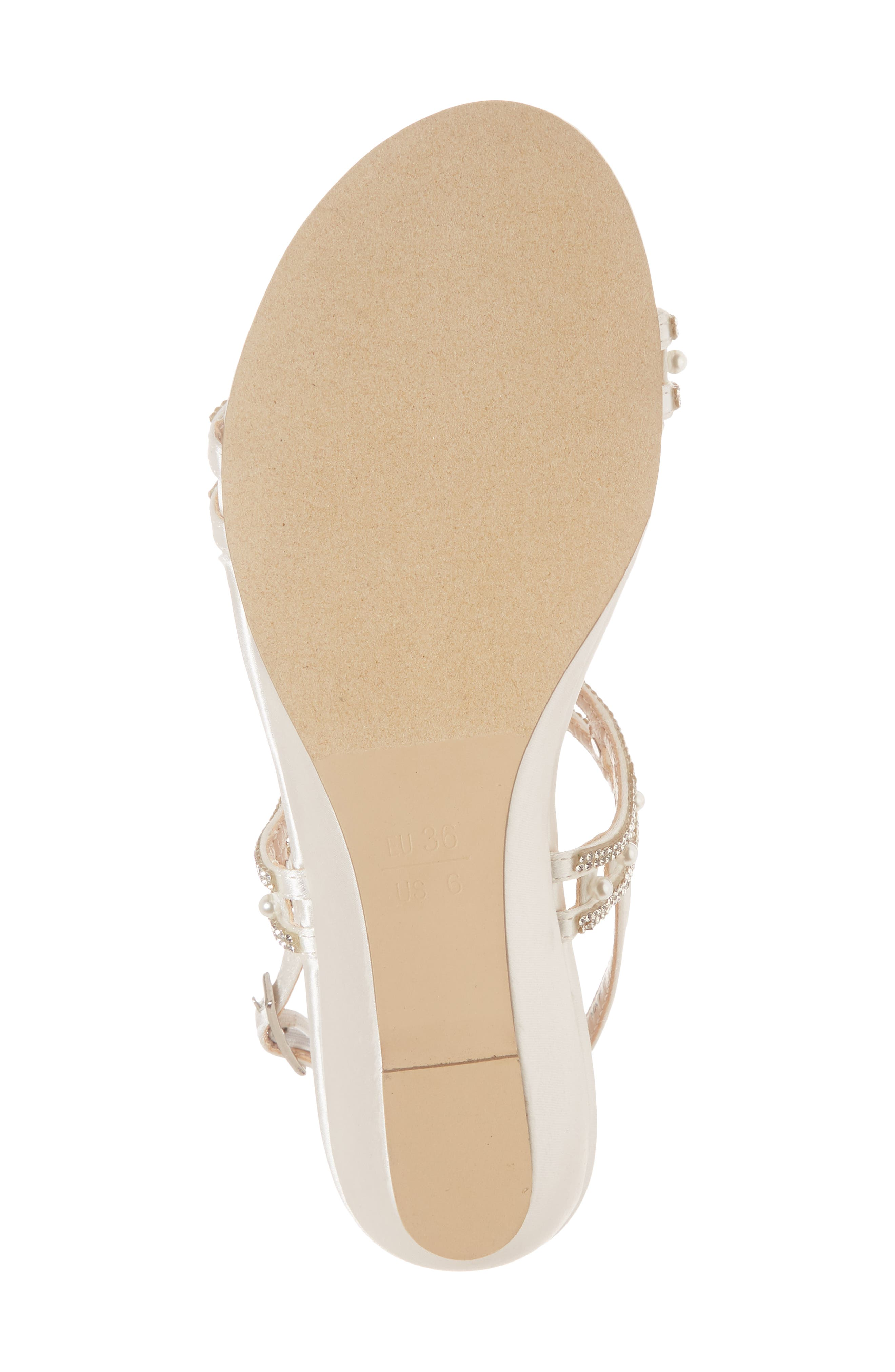 Kamara Embellished Wedge Sandal,                             Alternate thumbnail 6, color,                             Ivory Satin