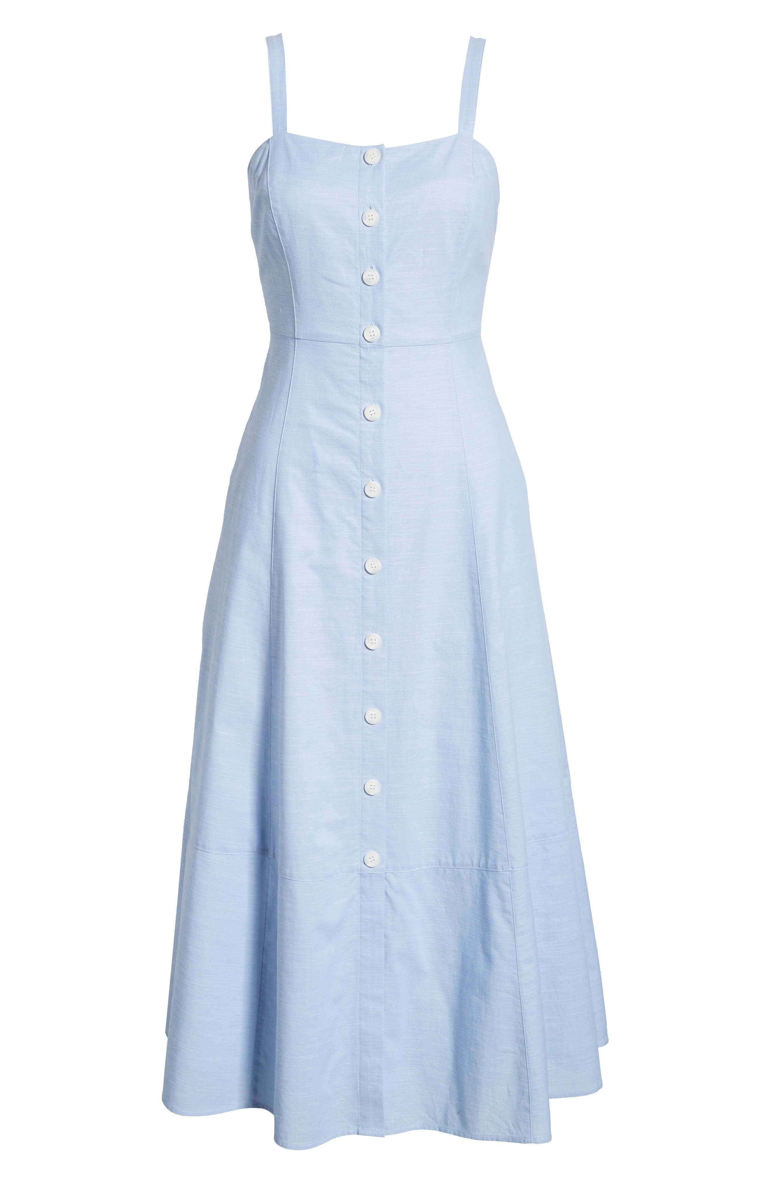 Button Front Chambray Cotton Dress,                             Alternate thumbnail 7, color,                             Chambray