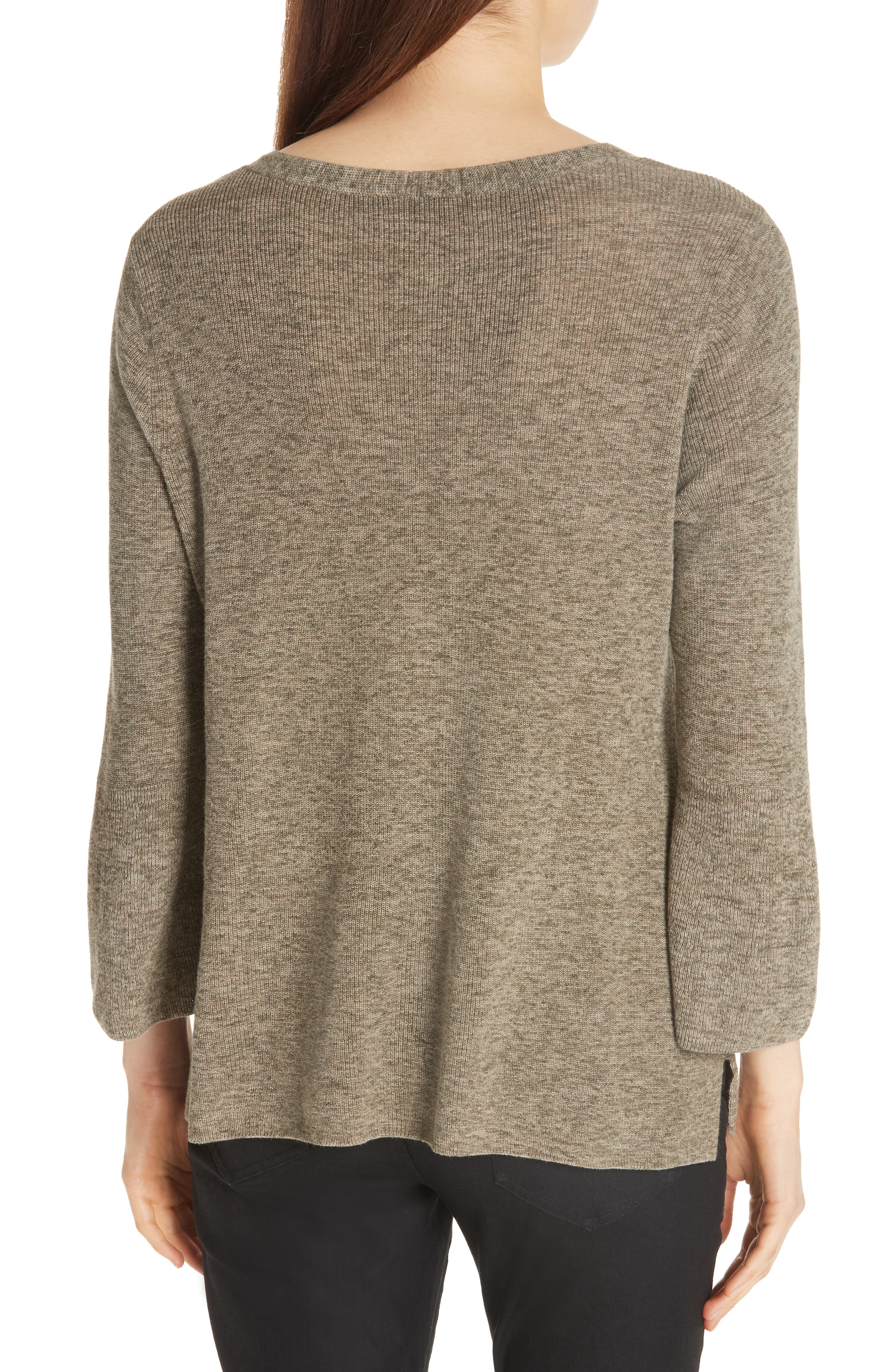 Bell Cuff Organic Cotton Sweater,                             Alternate thumbnail 2, color,                             Olive