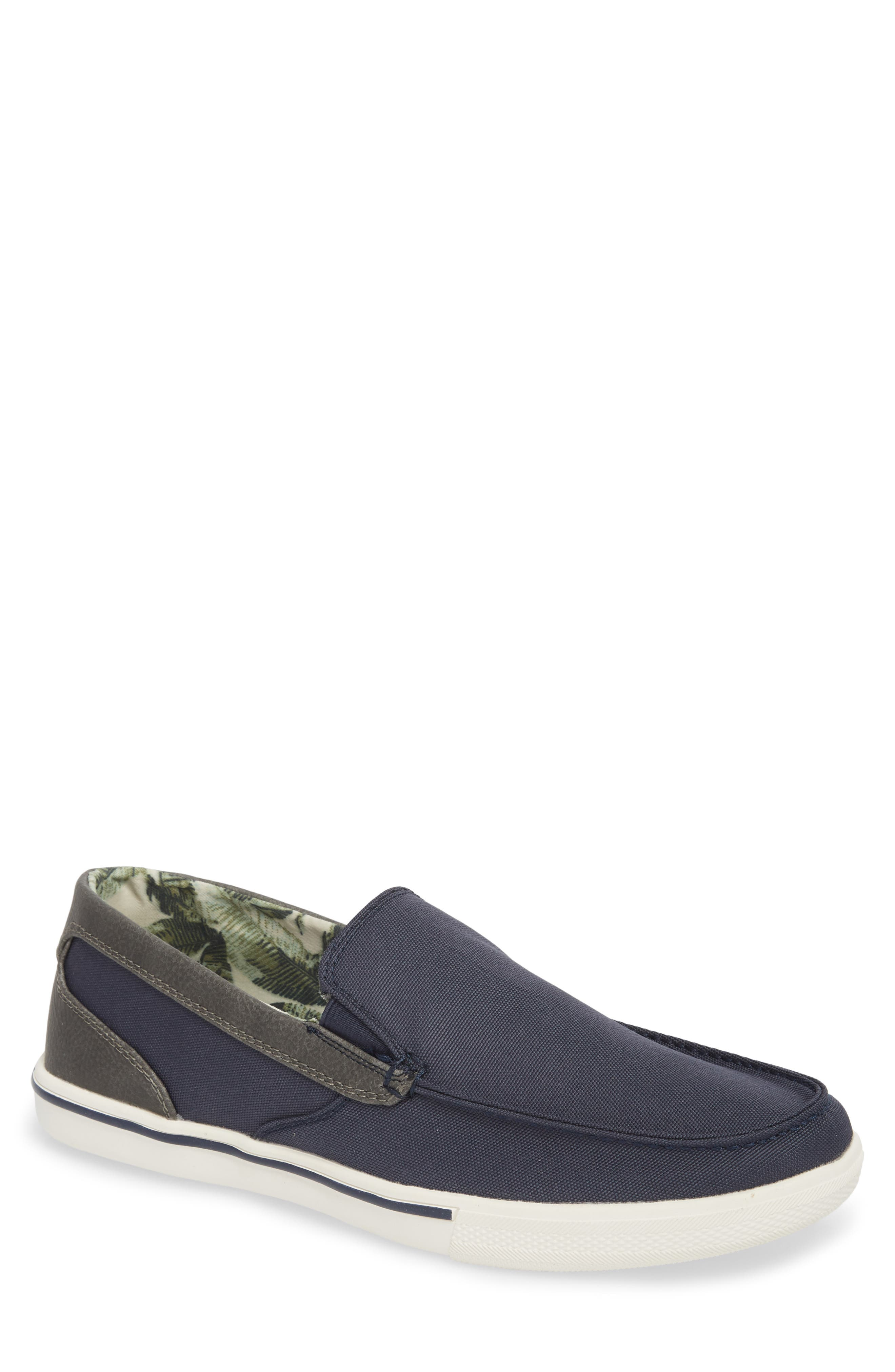 Calderon Loafer,                         Main,                         color, Navy Canvas/ Leather