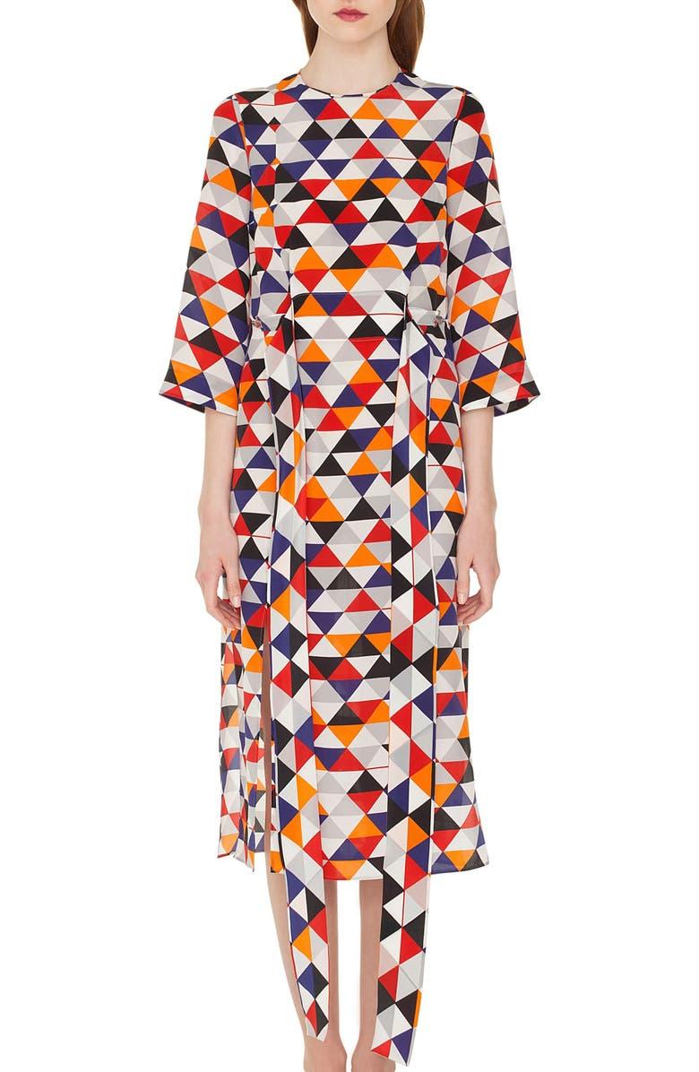 Diamond Print Silk Crepe Dress