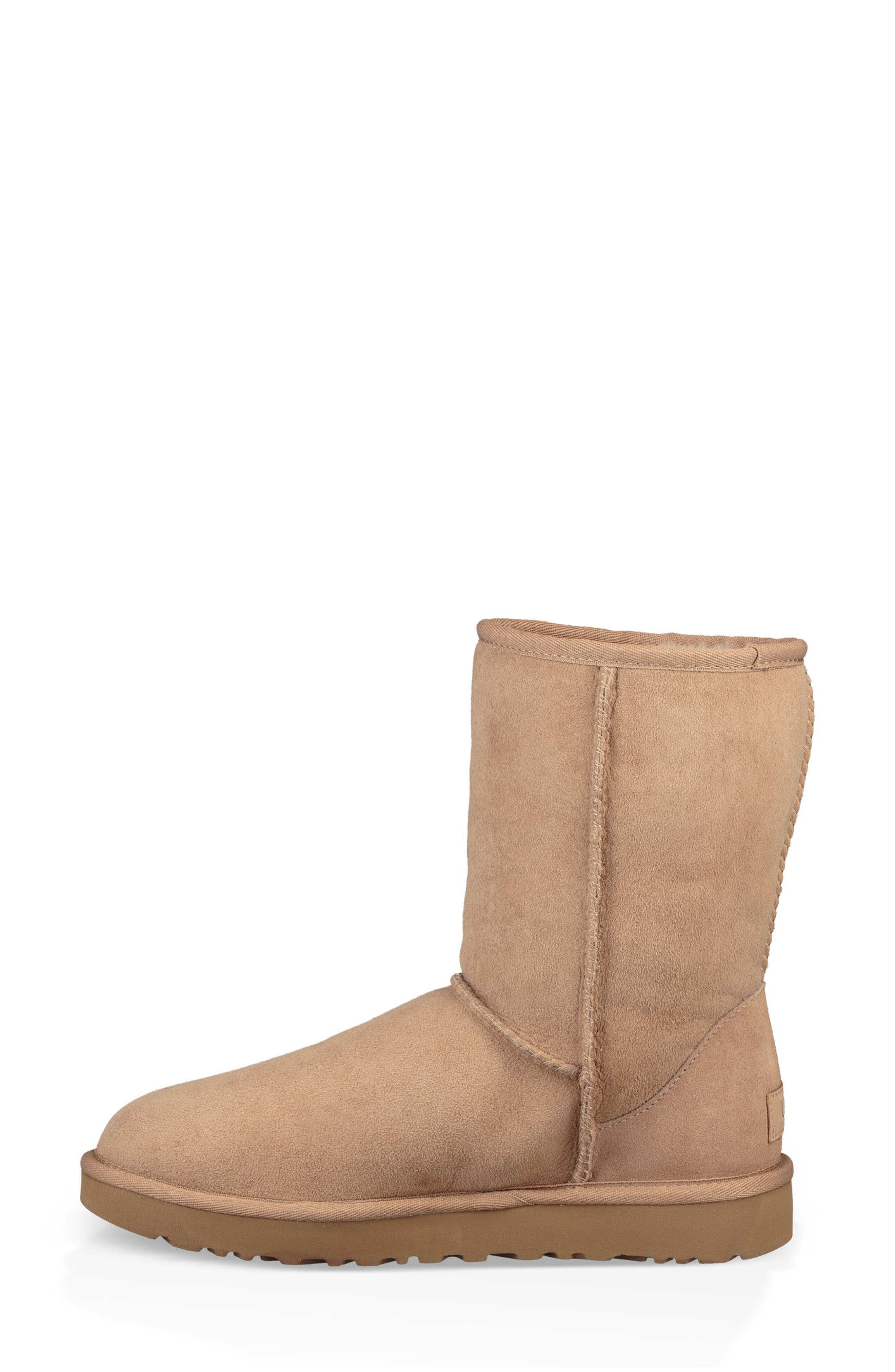 'Classic II' Genuine Shearling Lined Short Boot,                             Alternate thumbnail 7, color,                             Fawn Suede