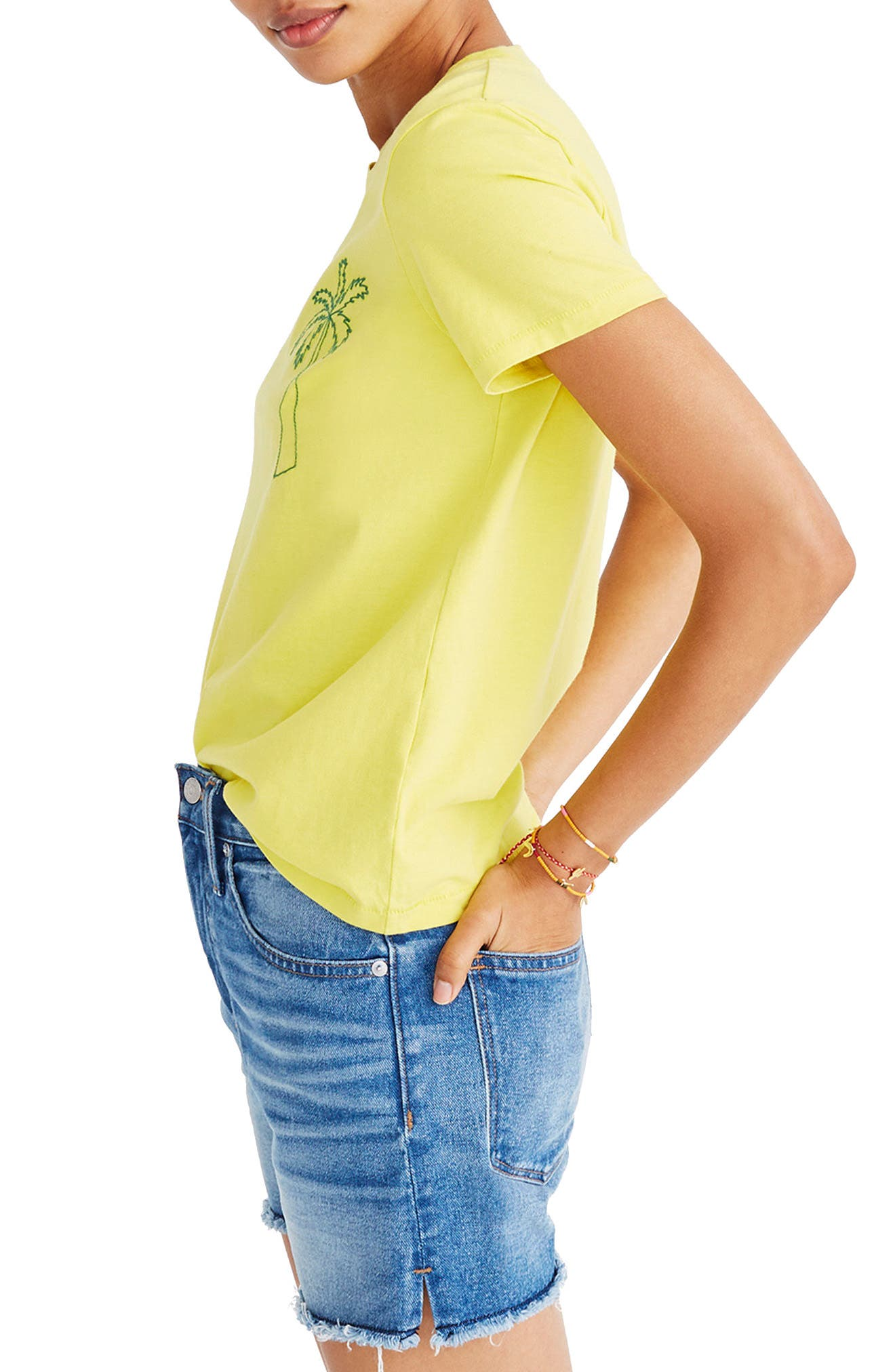 Palm Embroidered Boxy Tee,                         Main,                         color, Acid Yellow