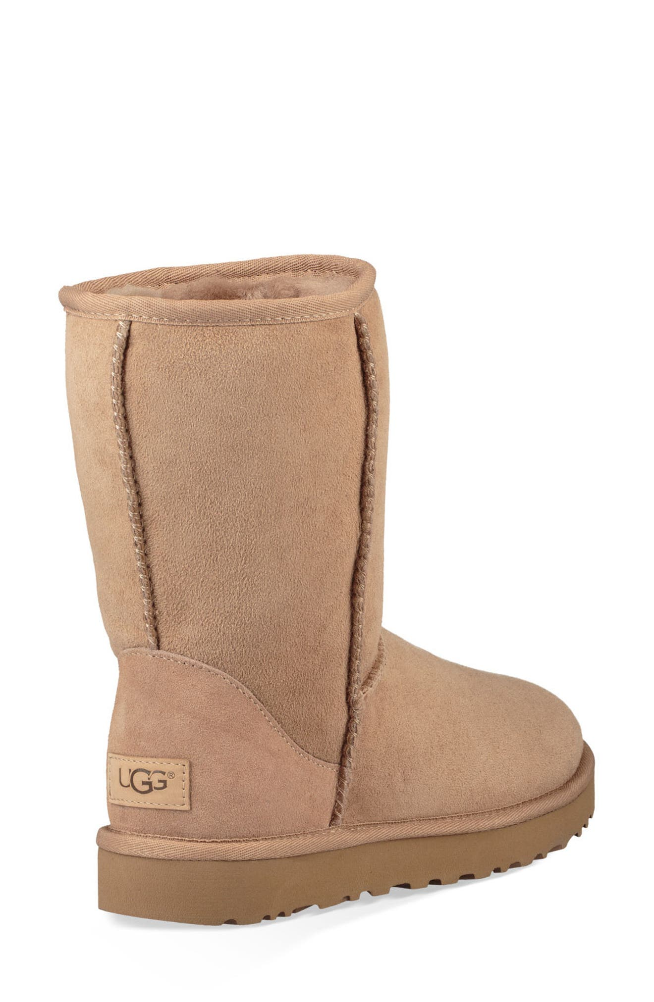 'Classic II' Genuine Shearling Lined Short Boot,                             Alternate thumbnail 2, color,                             Fawn Suede
