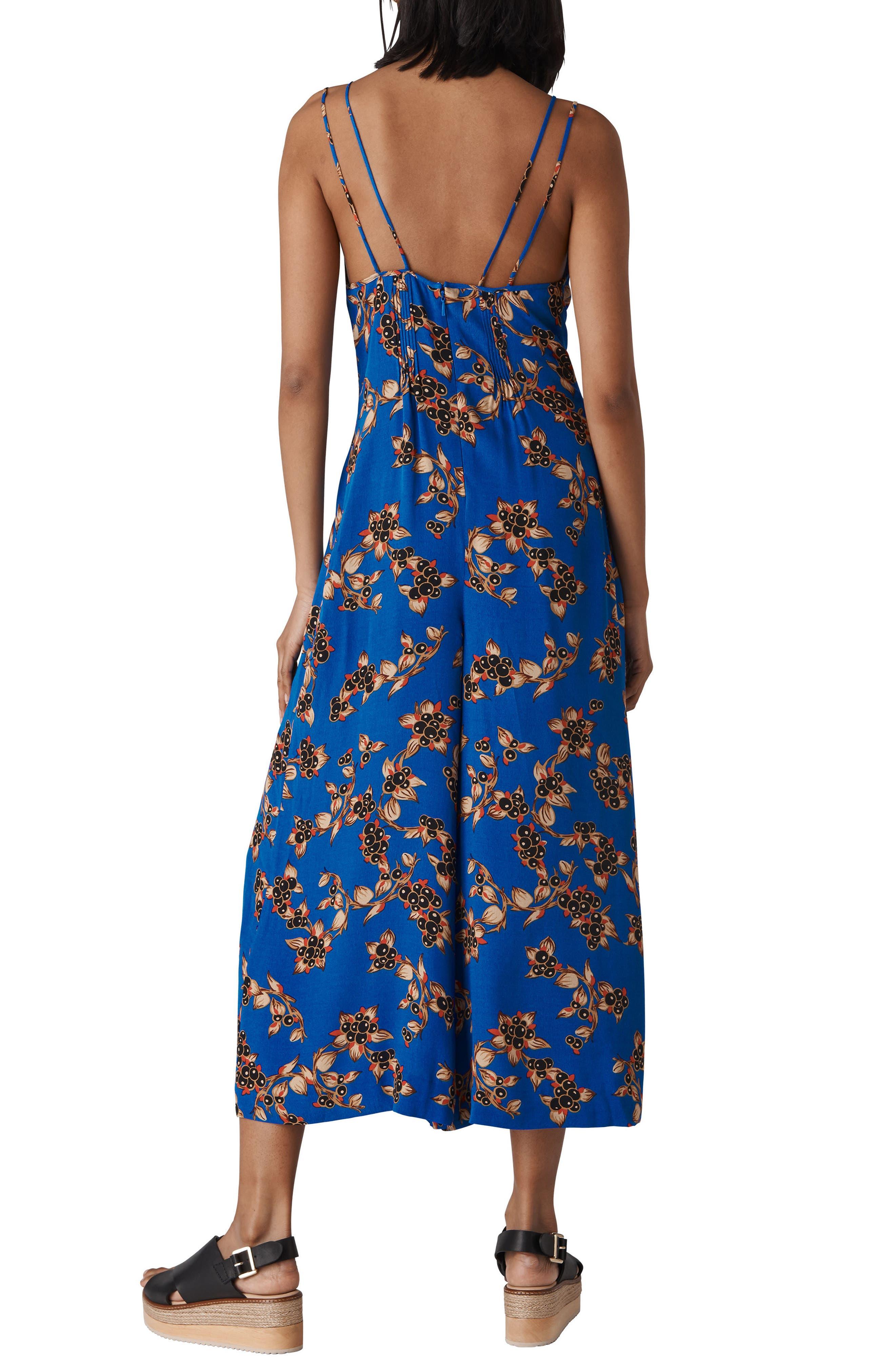 Armelle Capri Print Jumpsuit,                             Alternate thumbnail 2, color,                             Blue/ Multi