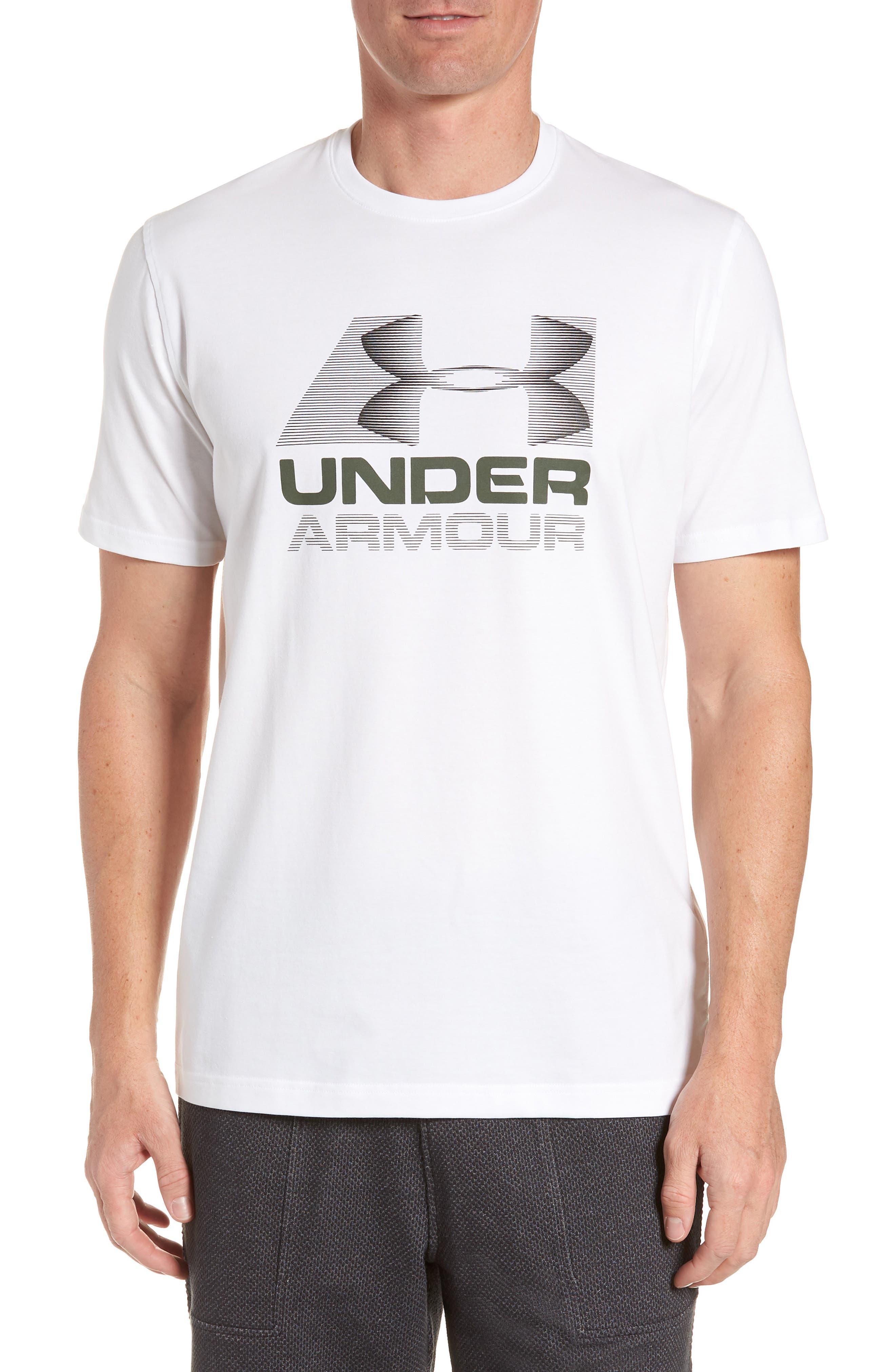 Trim Fit Vanish Logo T-Shirt,                             Main thumbnail 1, color,                             White/ Black/ Downtown Green