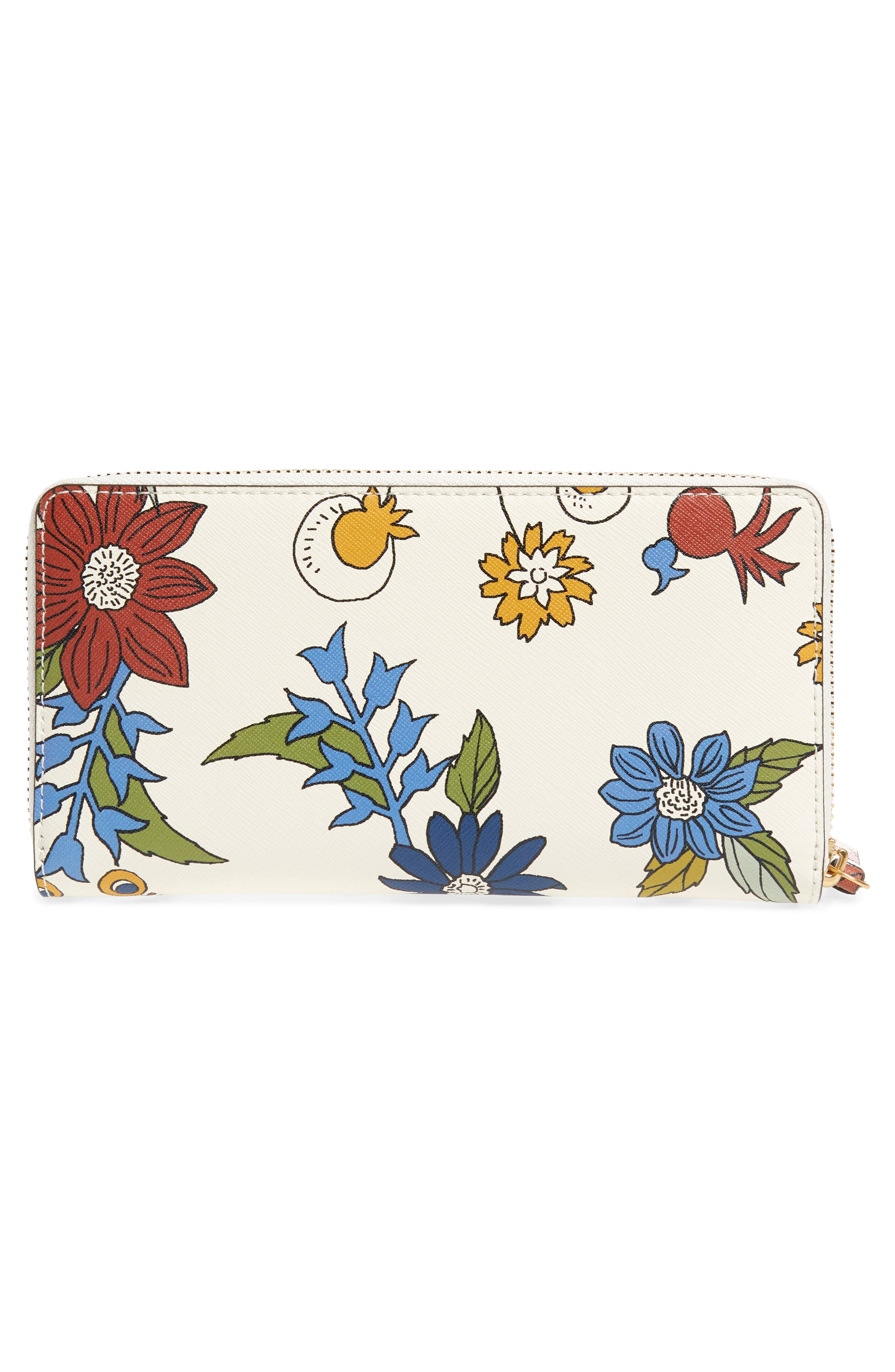 Robinson Floral Leather Continental Wallet,                             Alternate thumbnail 3, color,                             Ivory Meadow Sweet