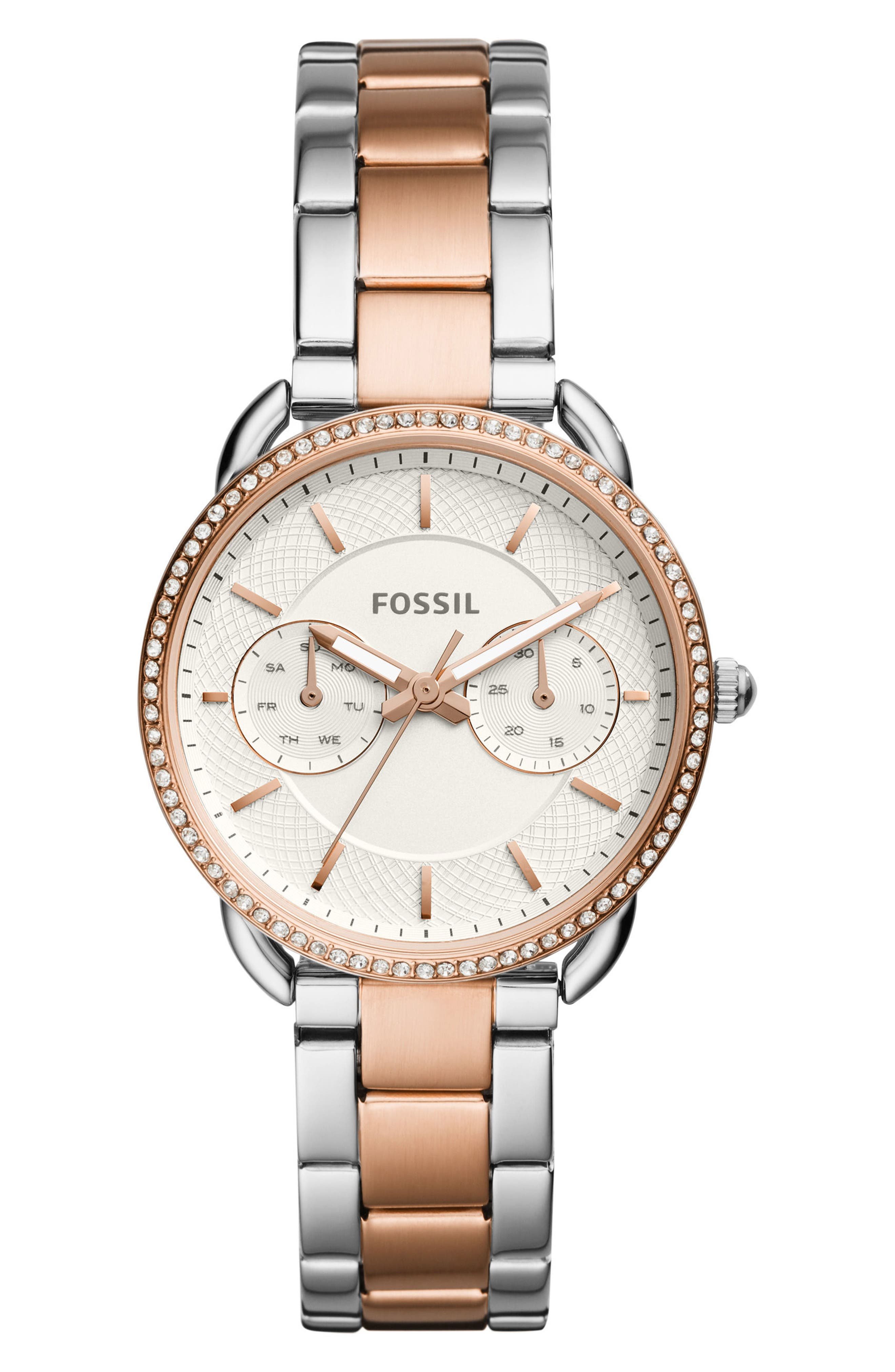 Tailor Crystal Multifunction Bracelet Watch, 35mm,                             Main thumbnail 1, color,                             Rose Gold/ Silver/ Silver