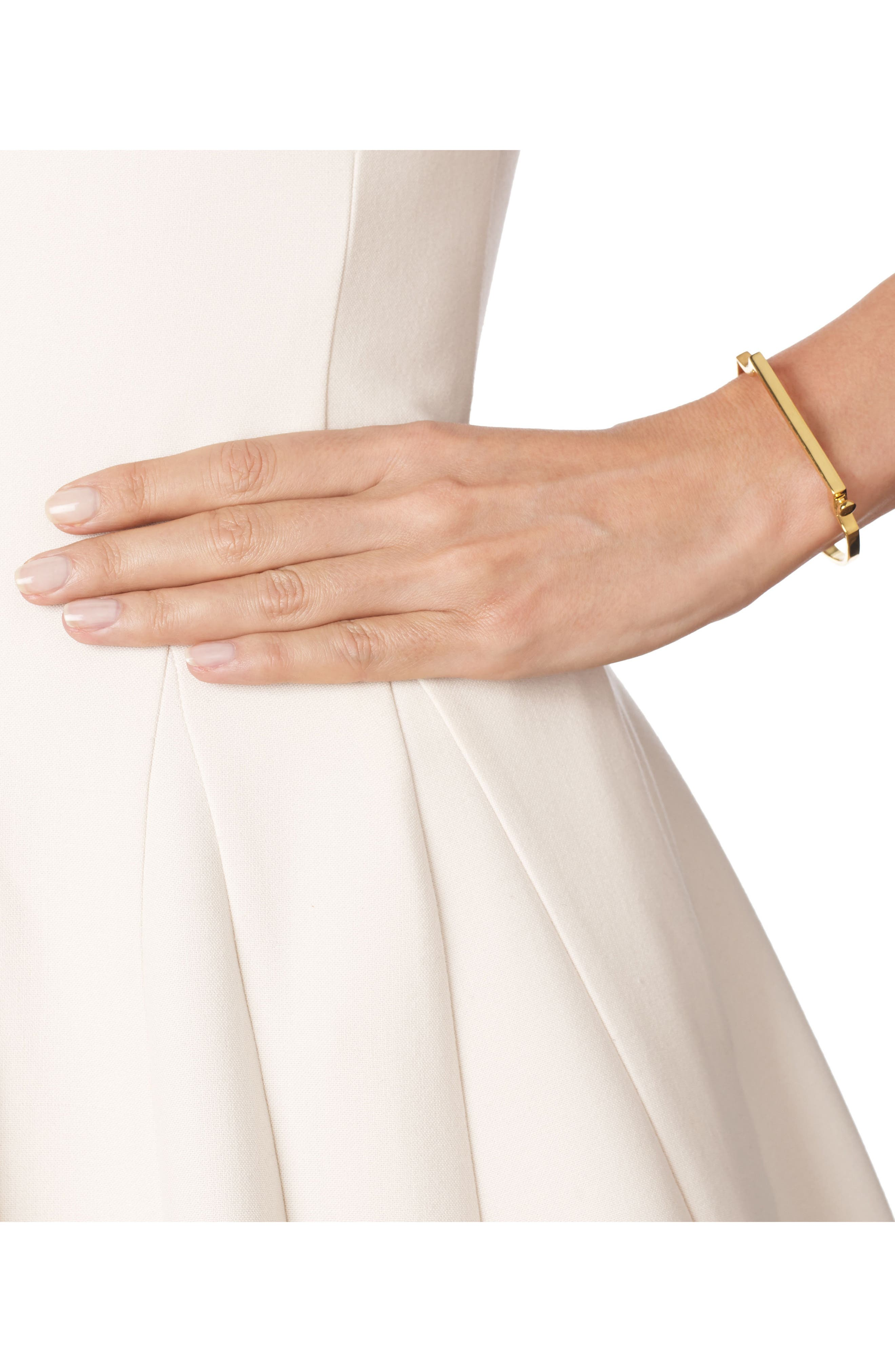 Signature Thin Bangle Bracelet,                             Alternate thumbnail 2, color,                             Yellow Gold