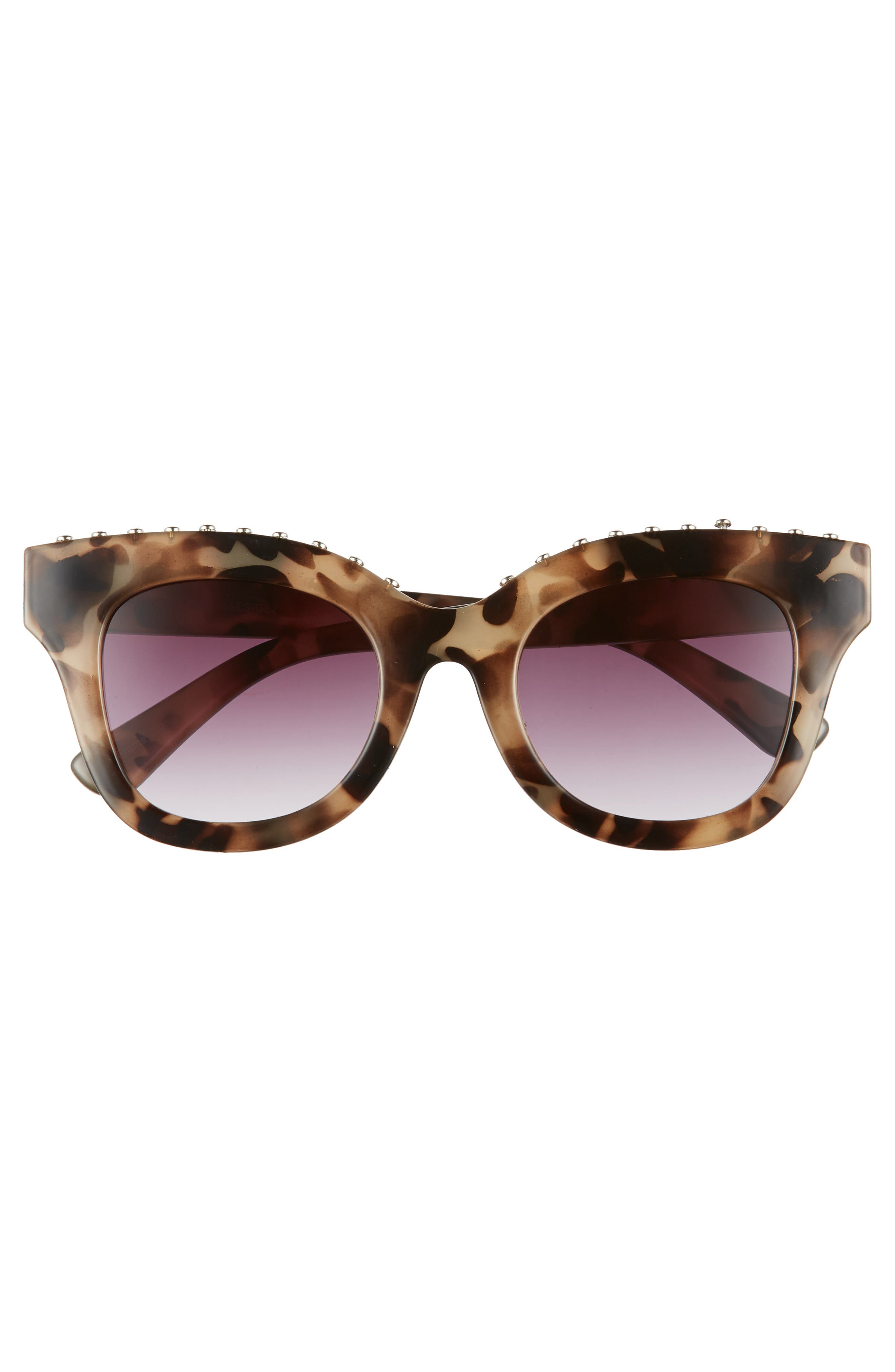 48mm Studded Sunglasses,                             Alternate thumbnail 3, color,                             Tort/ Silver