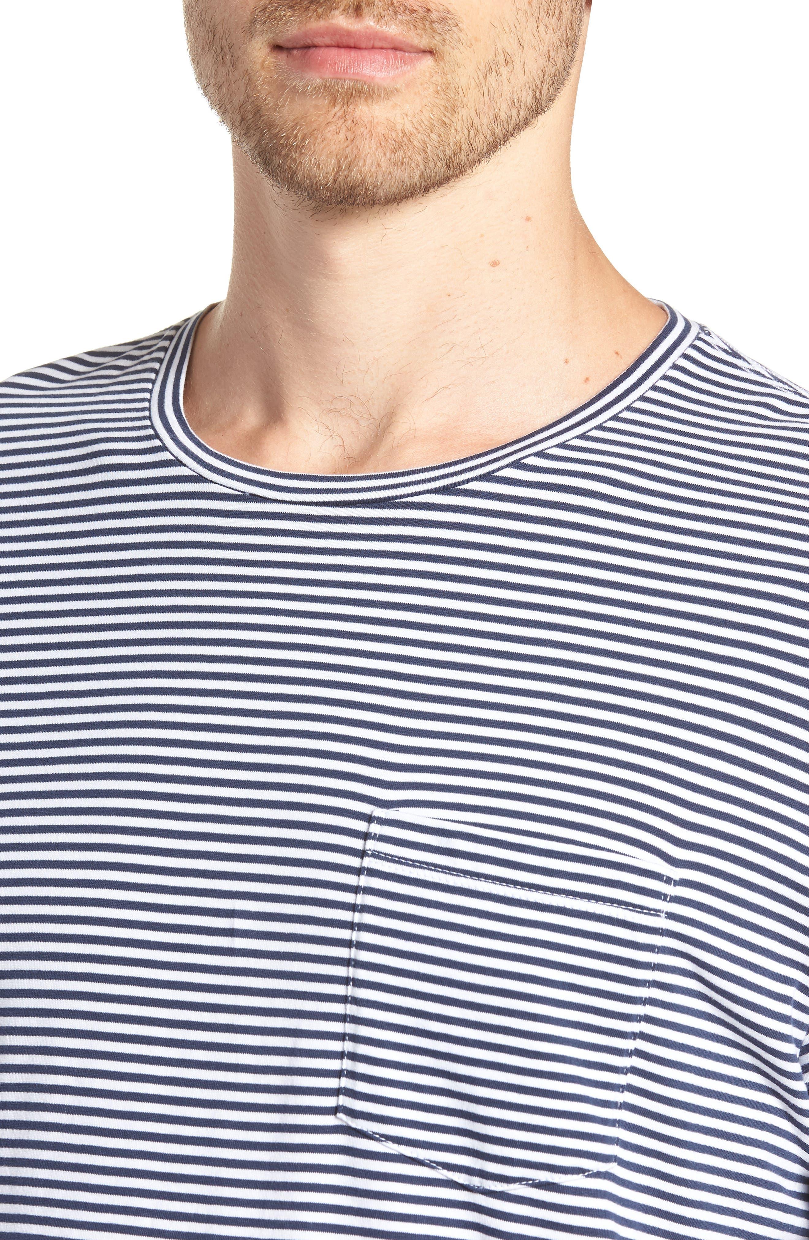 Stripe Brushed Pima Cotton T-Shirt,                             Alternate thumbnail 4, color,                             Navy Iris Mini Stripe