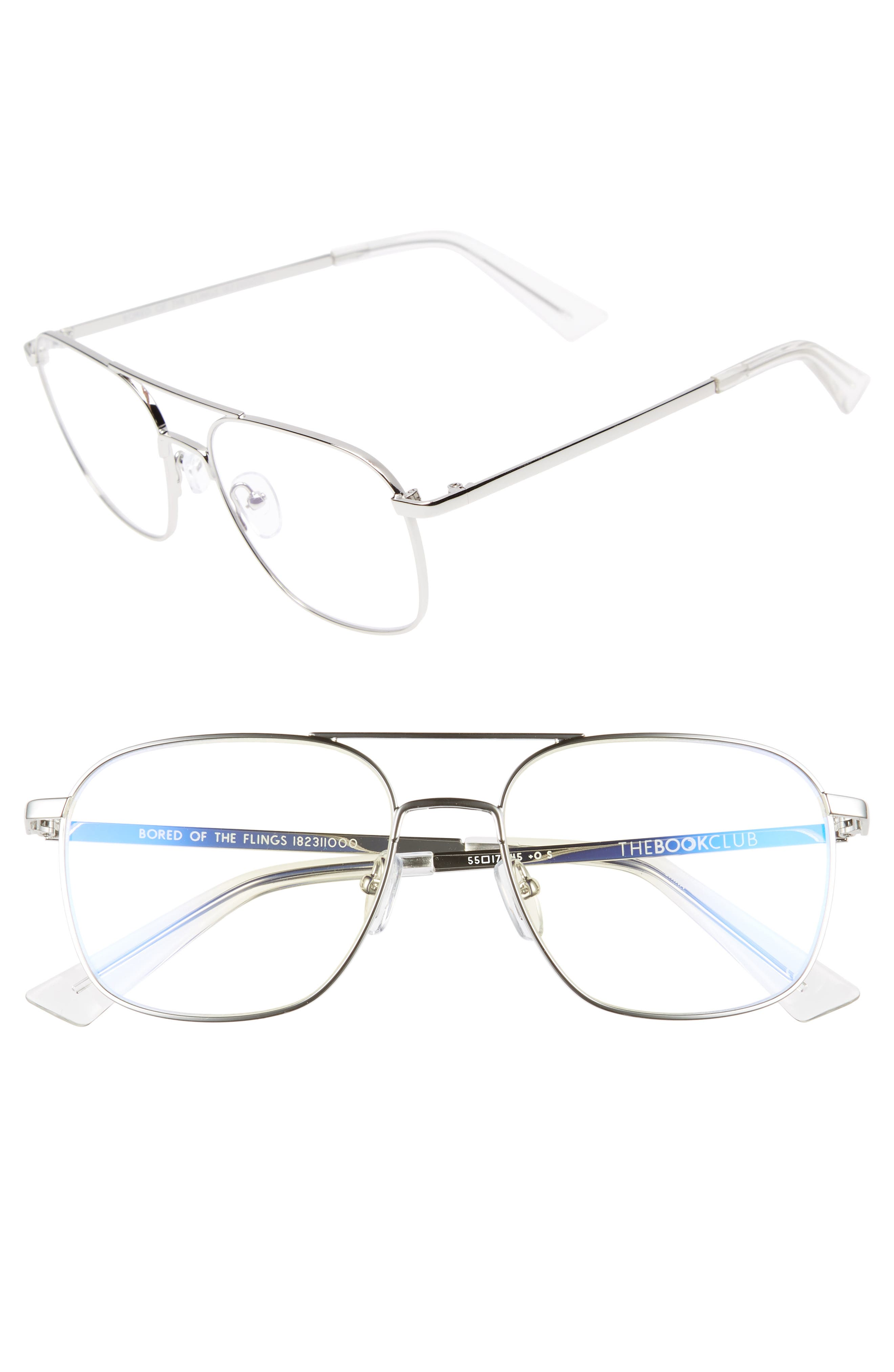 Bored of the Flings 55mm Reading Glasses,                             Main thumbnail 1, color,                             Silver/ Cellophane