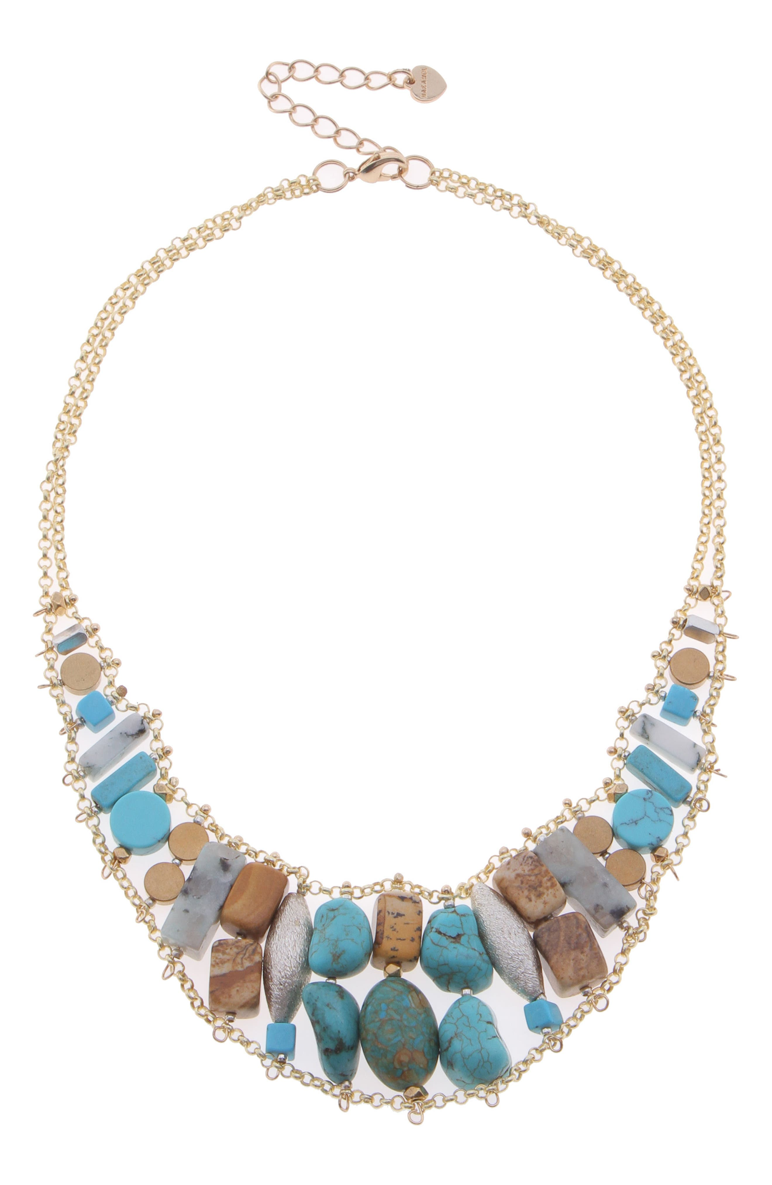 Stone & Freshwater Pearl Collar Necklace,                             Main thumbnail 1, color,                             Turquoise