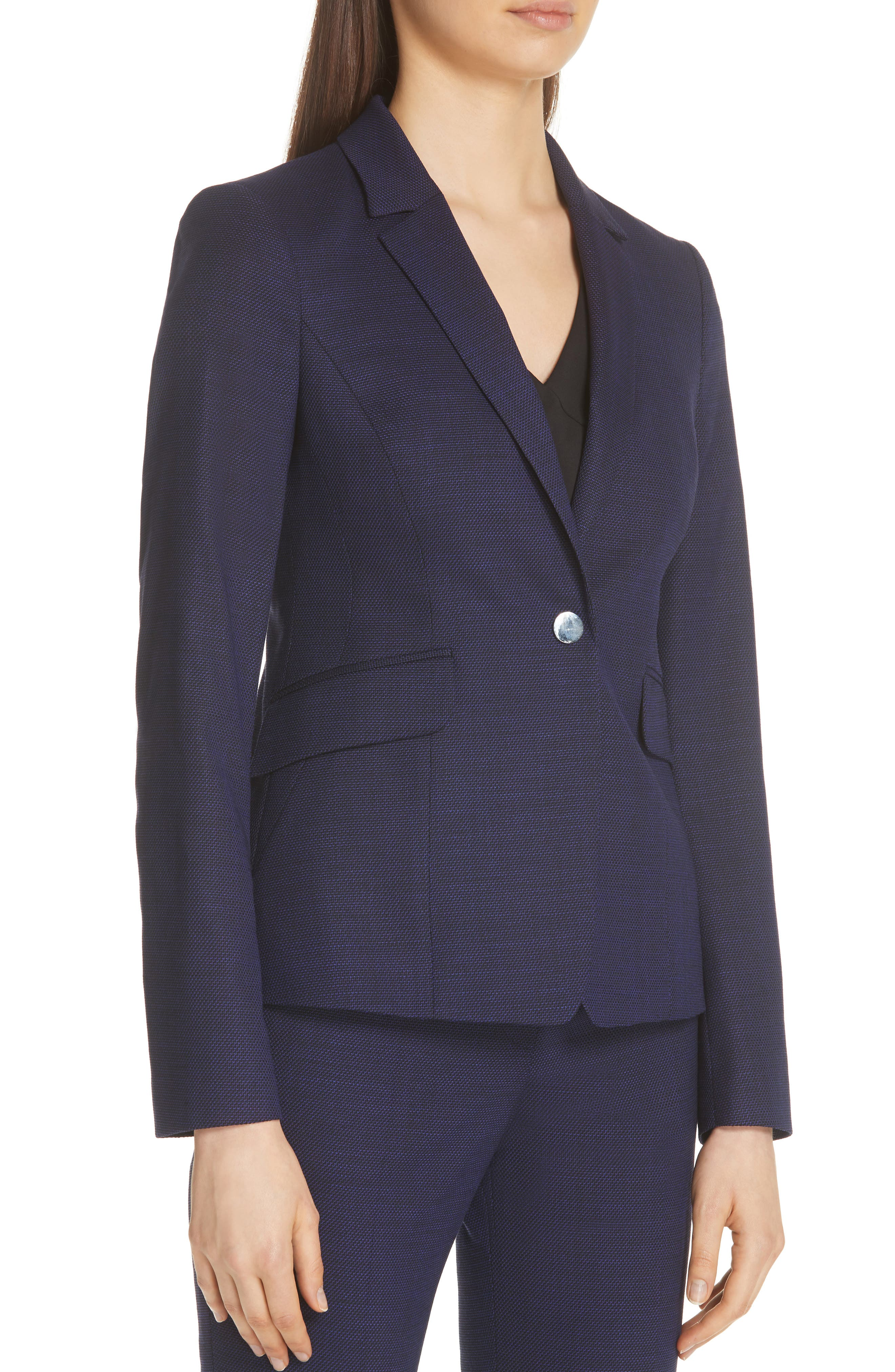 Jibalena Mini Glencheck Suit Jacket,                             Alternate thumbnail 4, color,                             Deep Lilac Fantasy