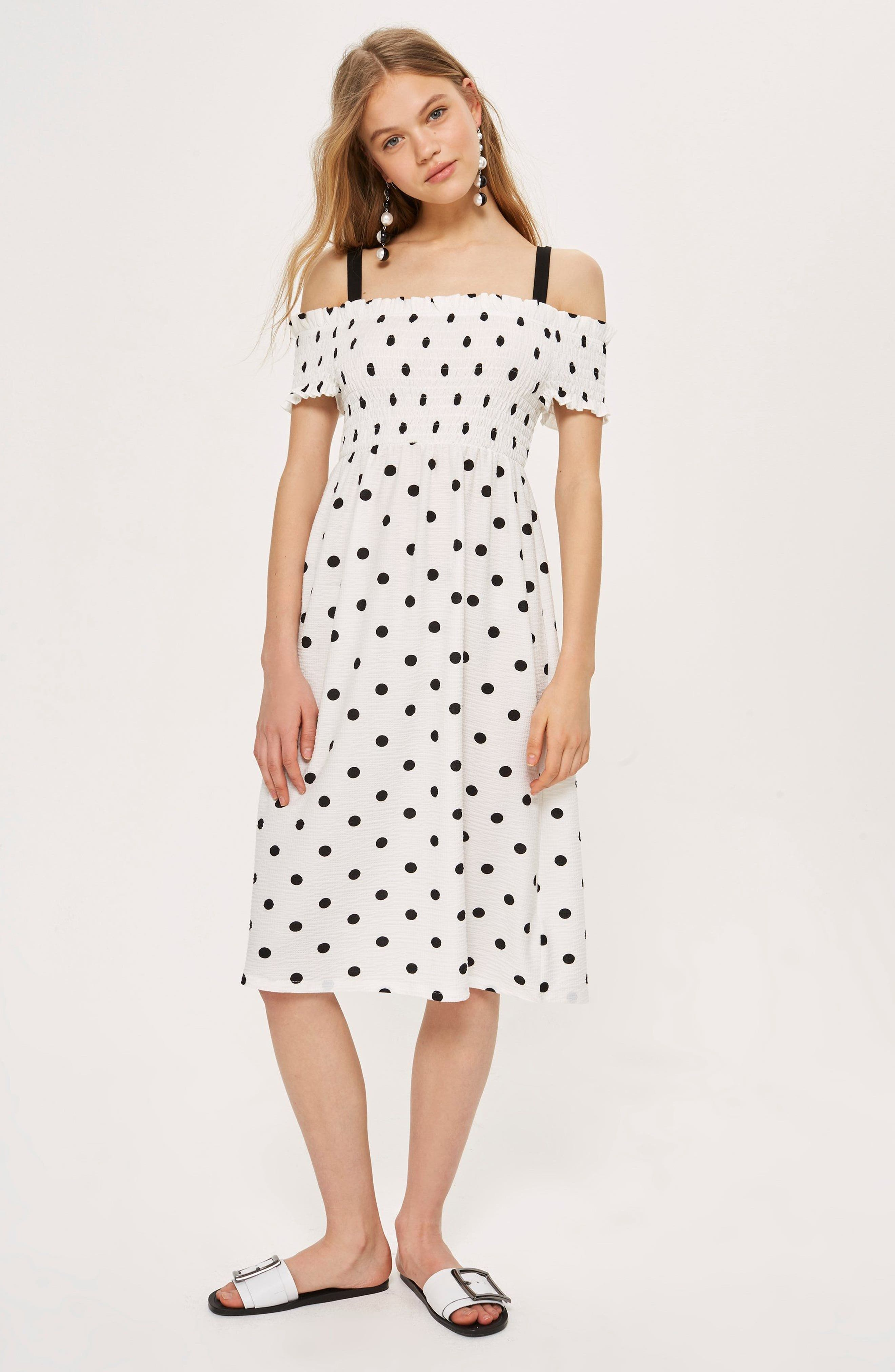 Spot Shirred Strappy Midi Dress,                             Alternate thumbnail 2, color,                             White Multi