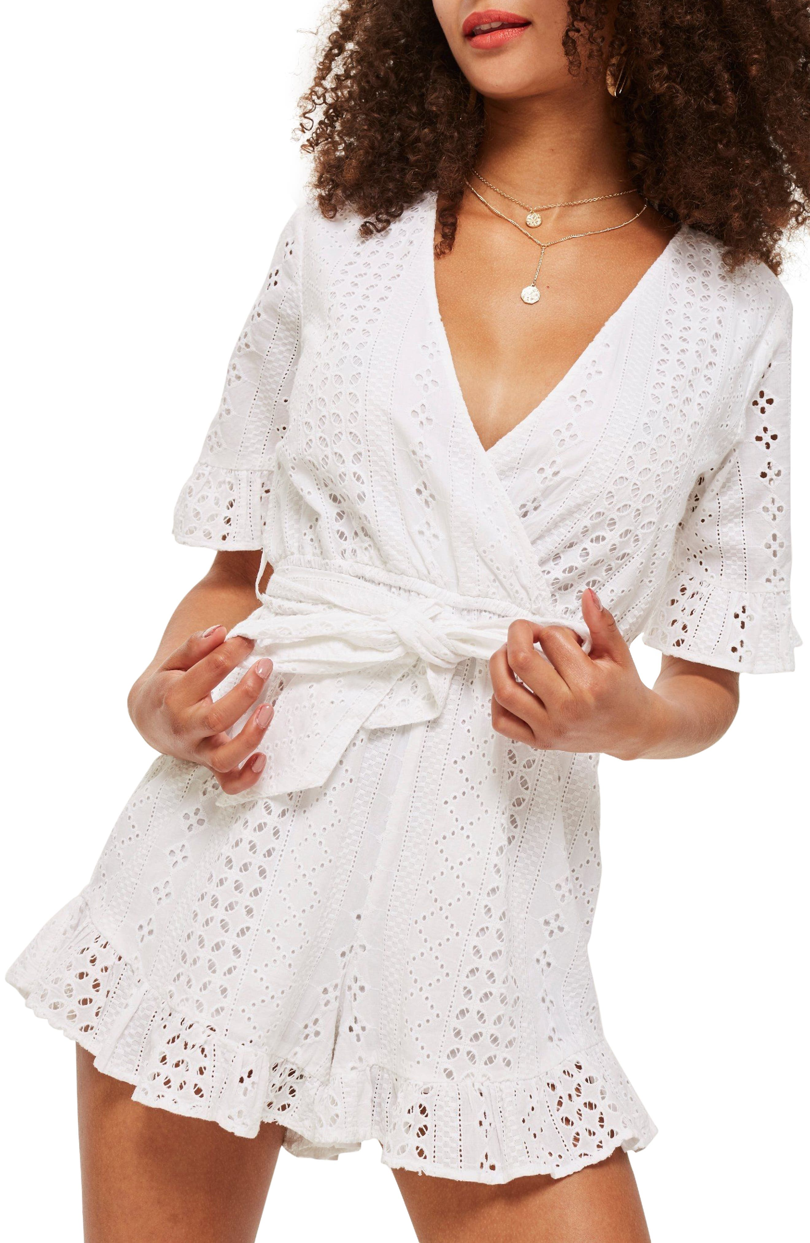 Broderie Anglaise Wrap Front Romper,                             Main thumbnail 1, color,                             White