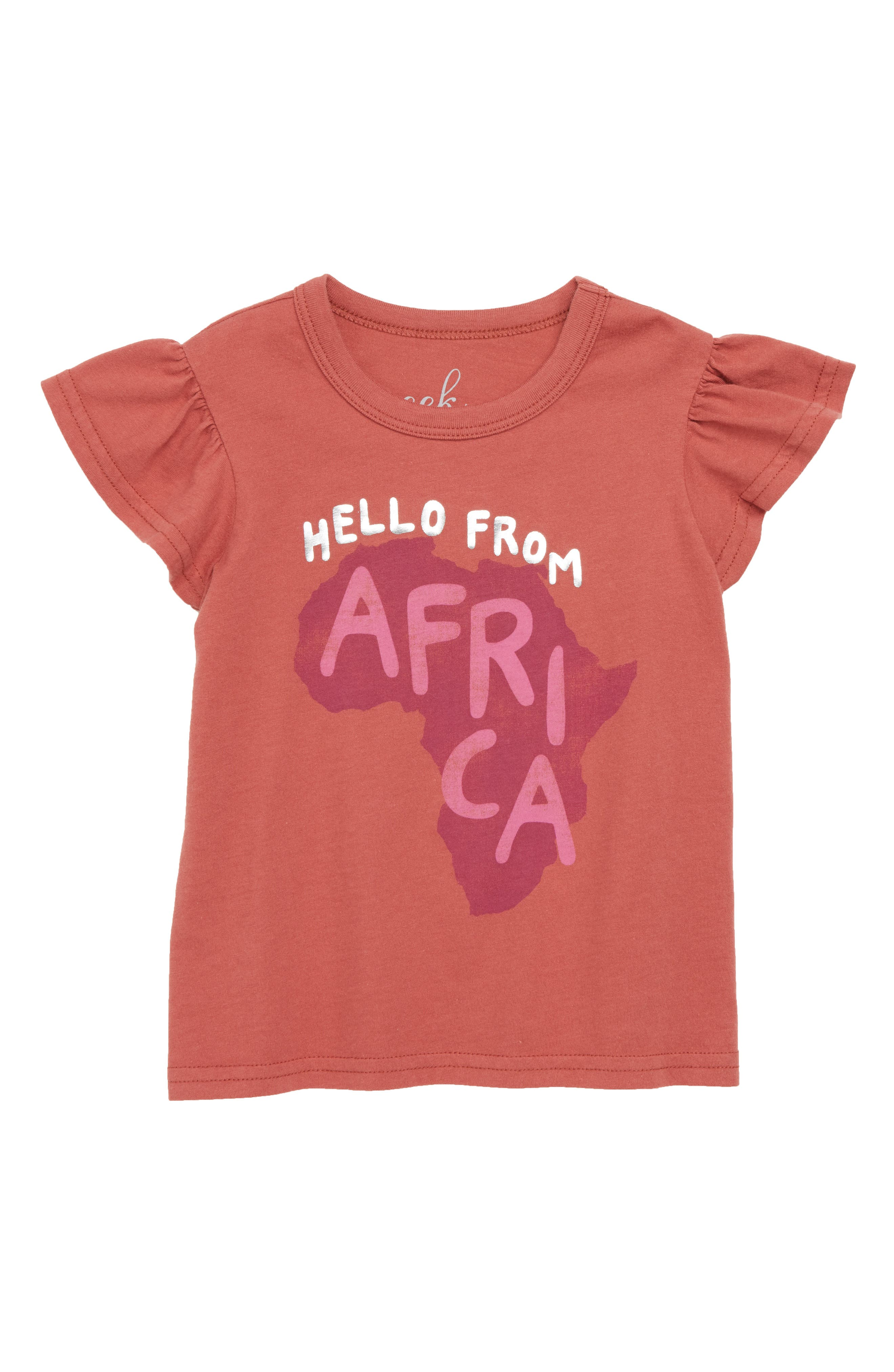 Hello From Africa Graphic Tee,                             Main thumbnail 1, color,                             Rust