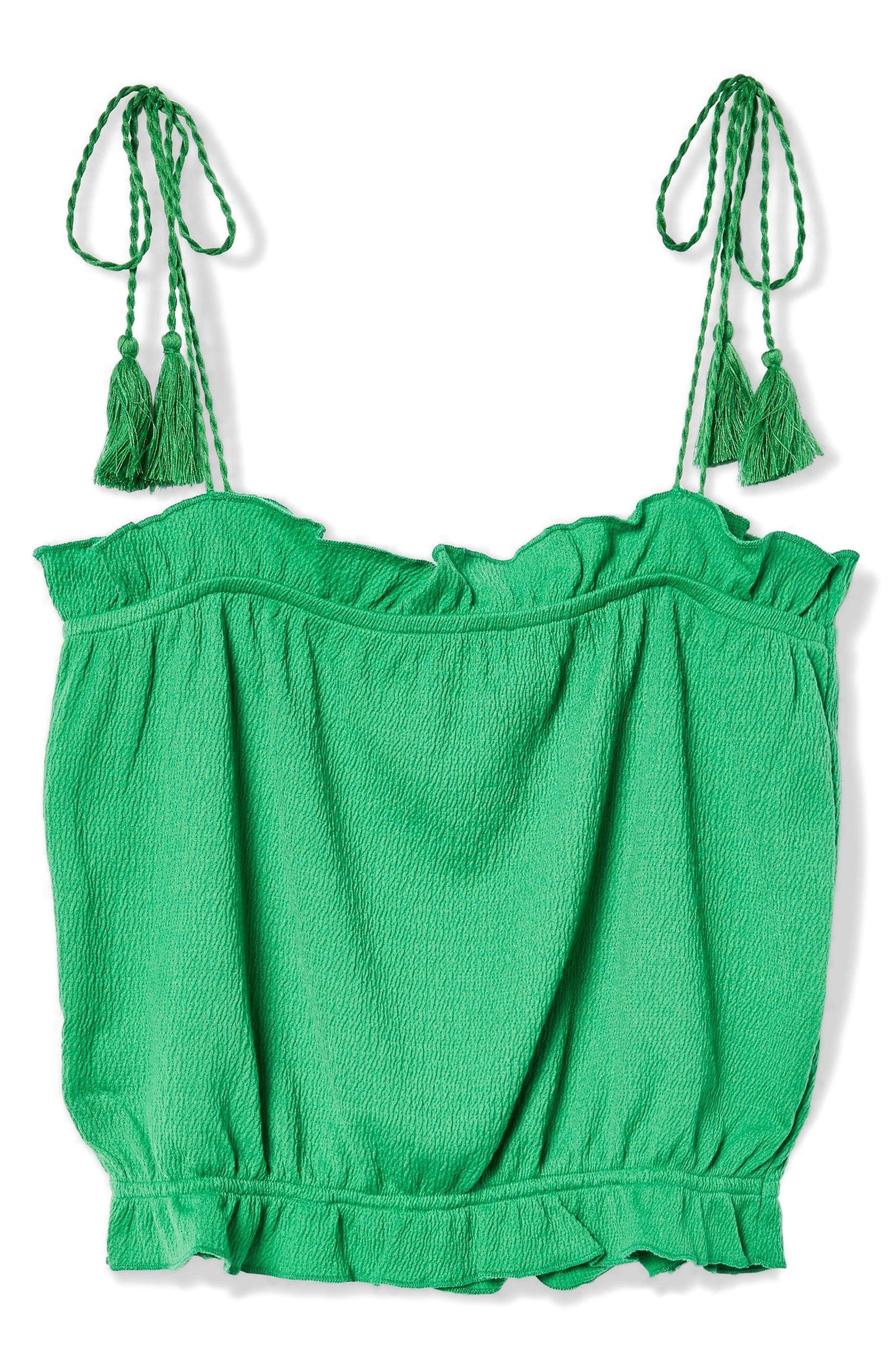 Tassel Tie Camisole Top,                             Alternate thumbnail 4, color,                             Green