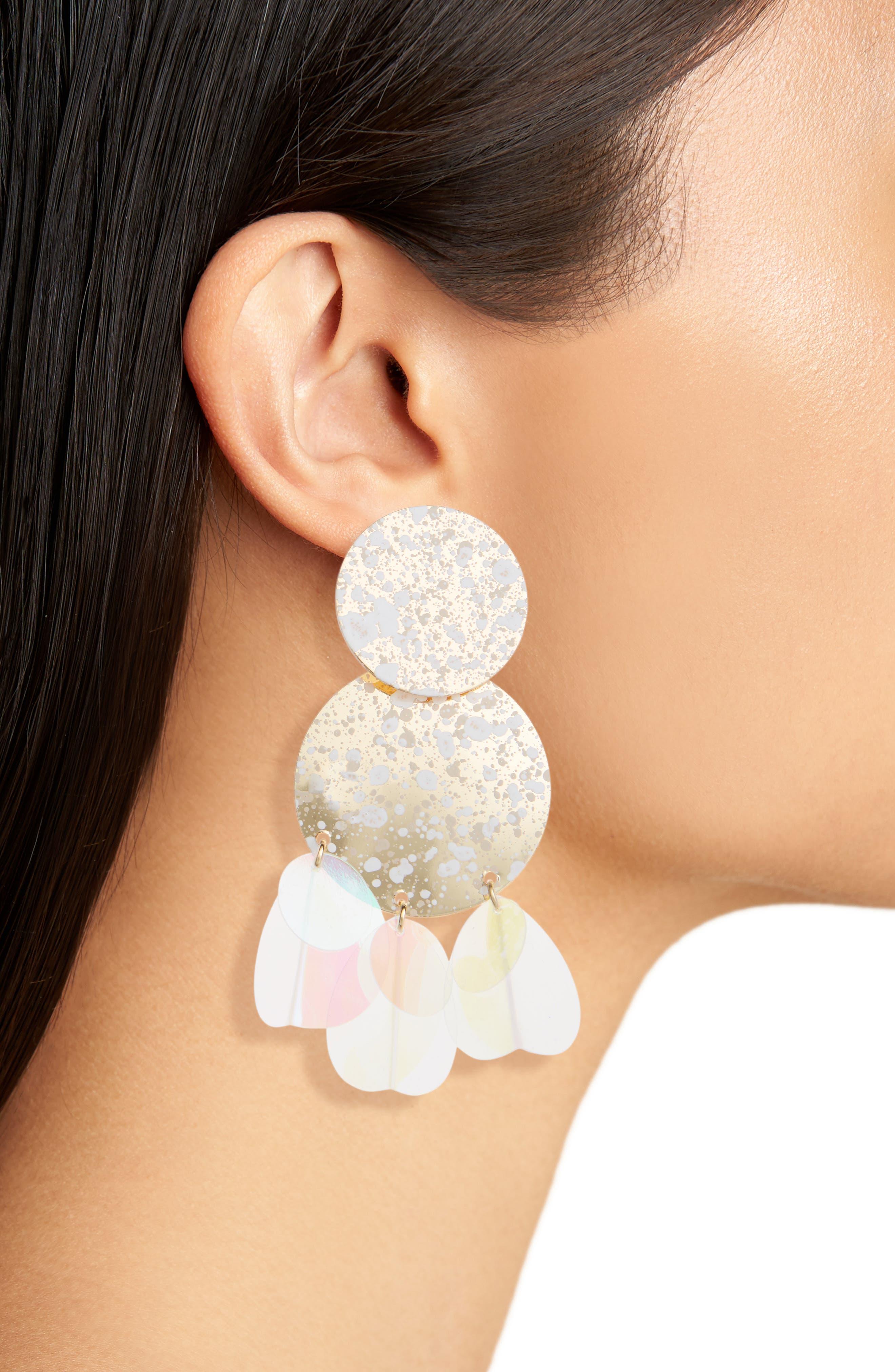 Disc Statement Earrings,                             Alternate thumbnail 2, color,                             Multi