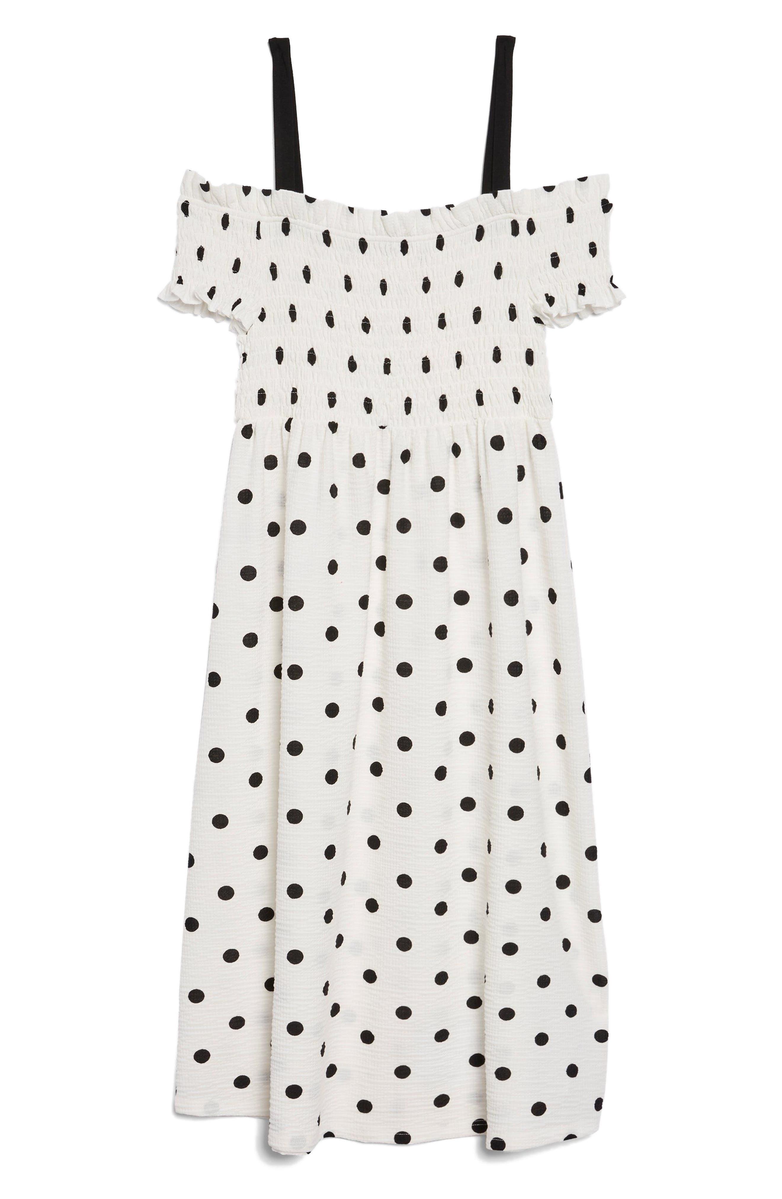 Spot Shirred Strappy Midi Dress,                             Alternate thumbnail 5, color,                             White Multi