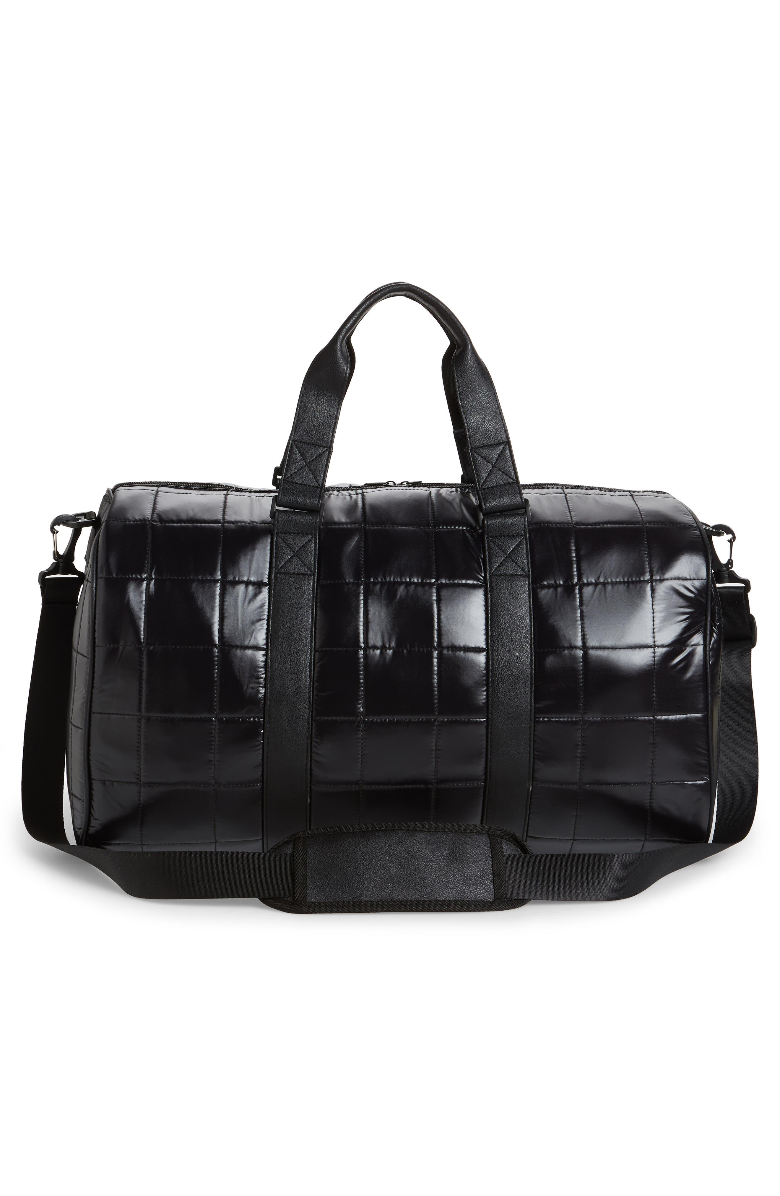Puffer Duffel Bag,                             Alternate thumbnail 3, color,                             Black