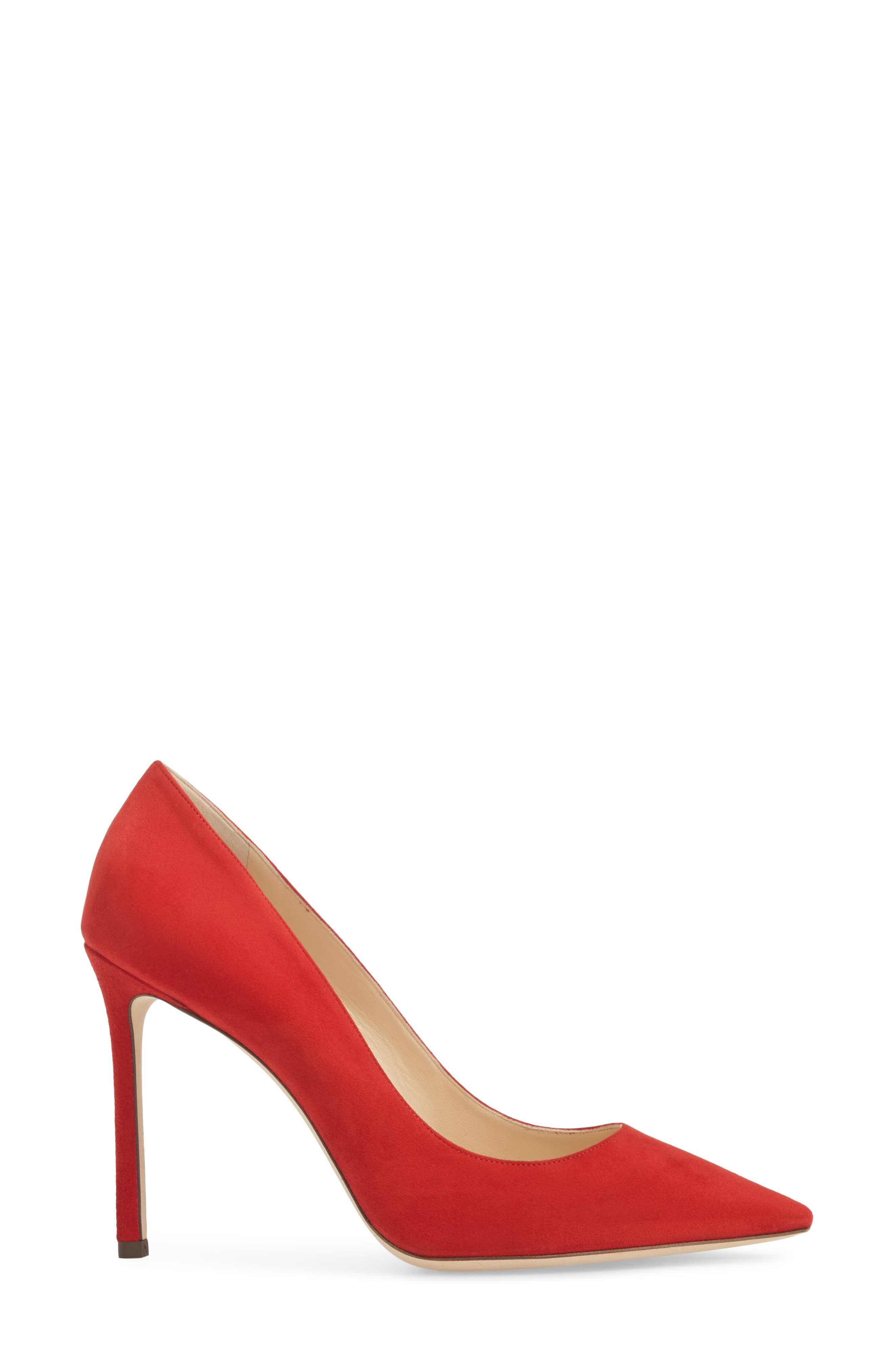 'Romy' Pointy Toe Pump,                             Alternate thumbnail 3, color,                             Red Suede
