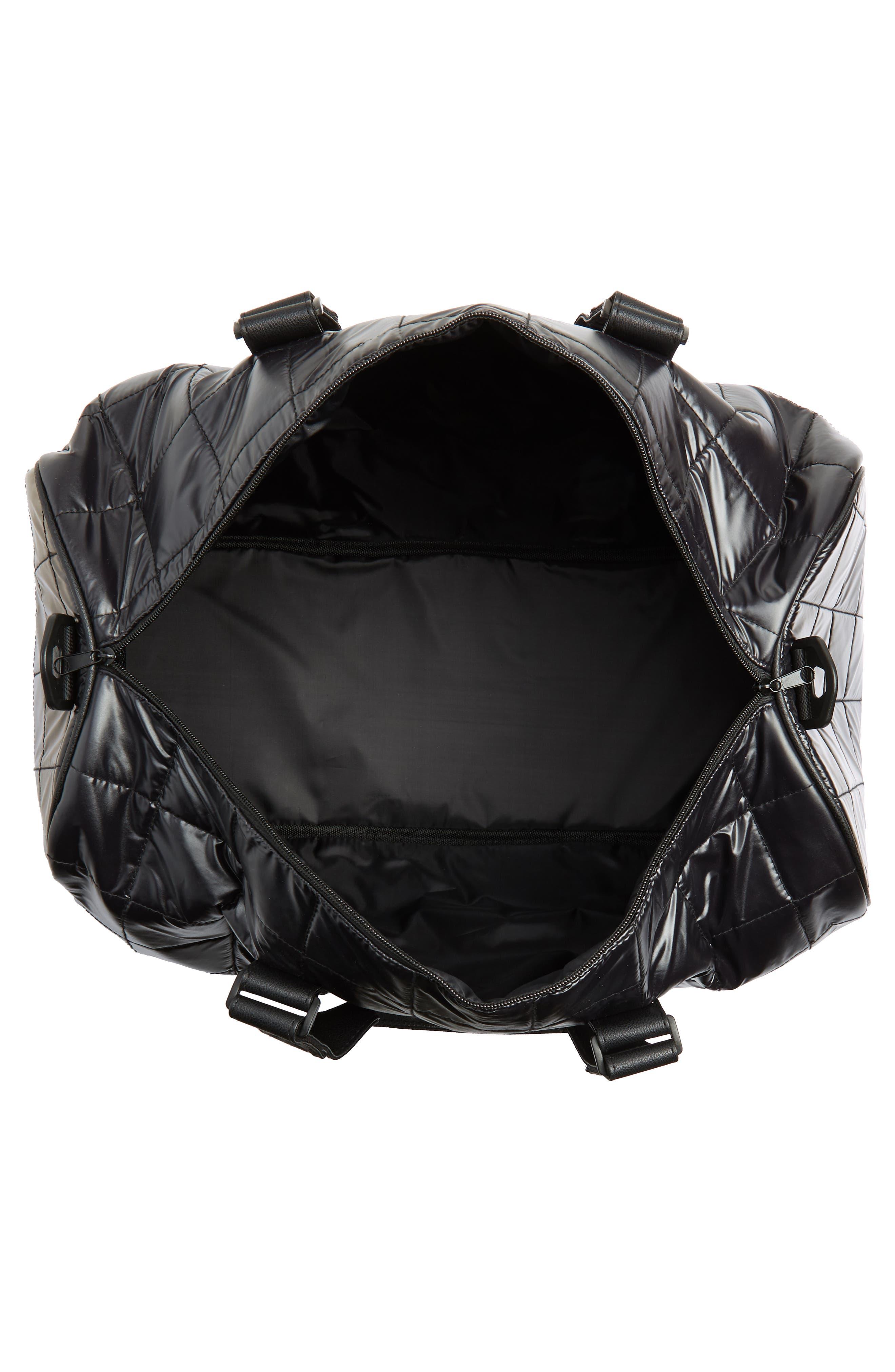 Puffer Duffel Bag,                             Alternate thumbnail 4, color,                             Black