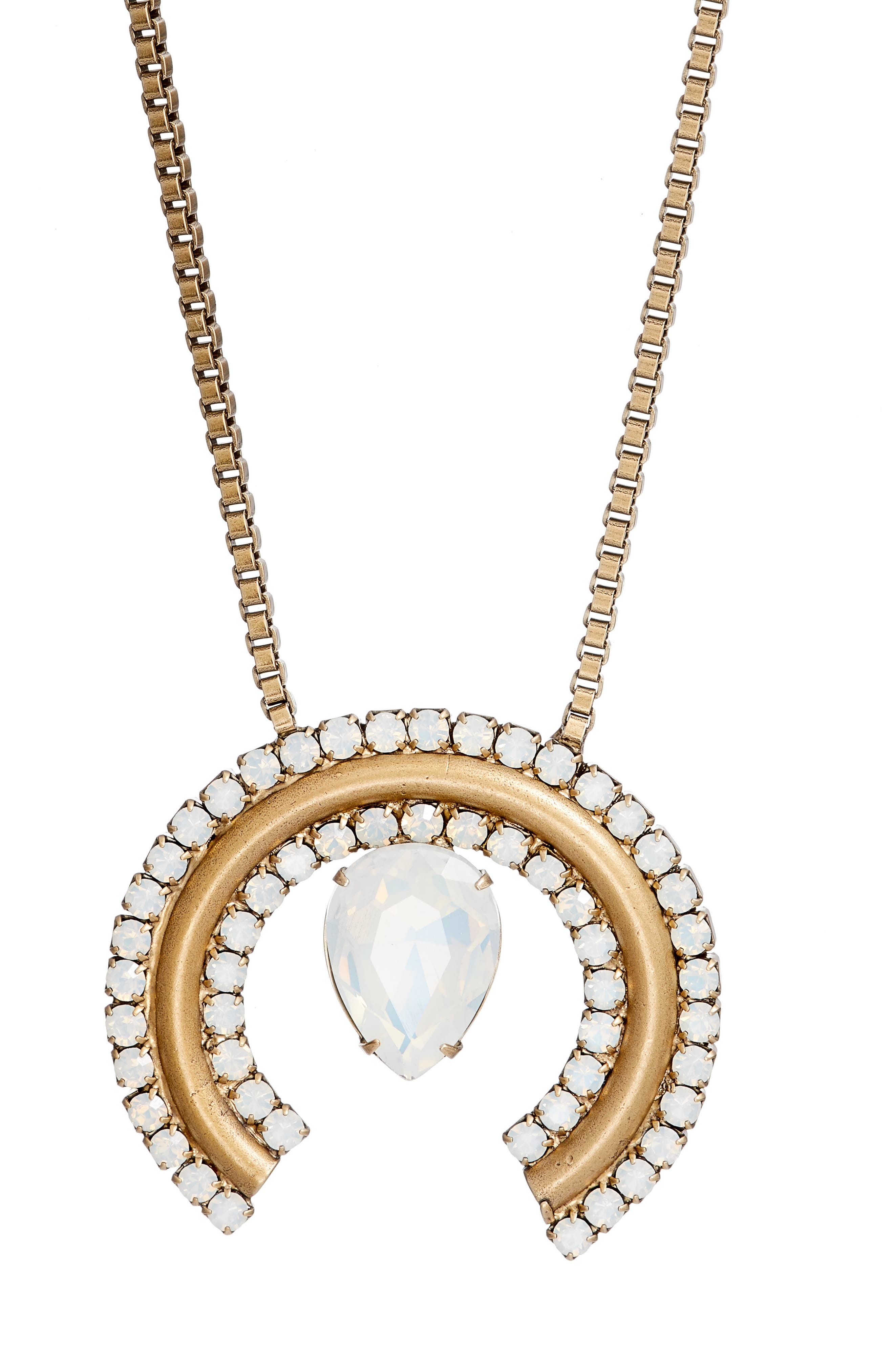 Corinne Box Chain Necklace,                             Alternate thumbnail 2, color,                             White Opal/ Gold
