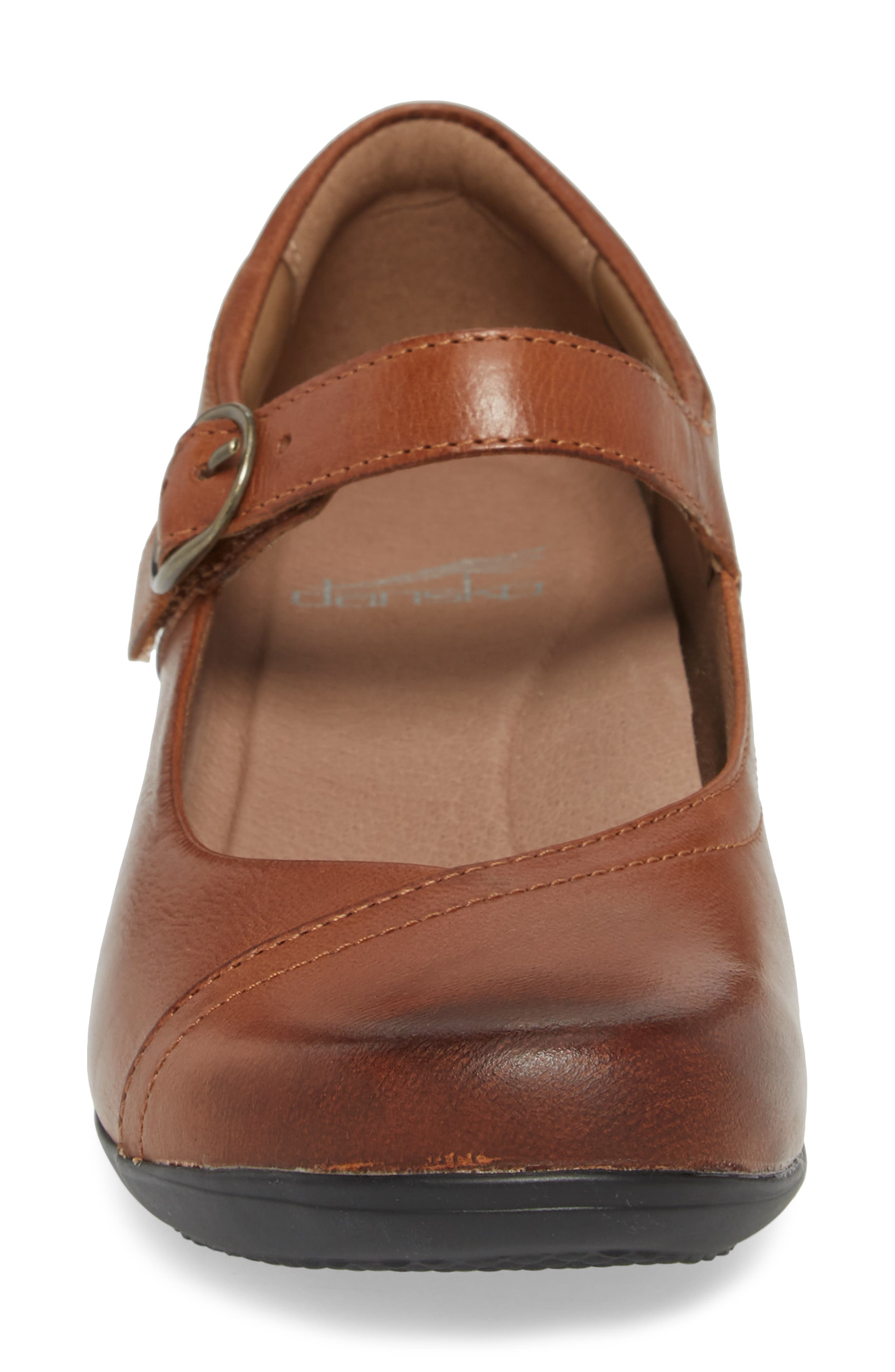 Fawna Mary Jane Flat,                             Alternate thumbnail 4, color,                             Chestnut Leather