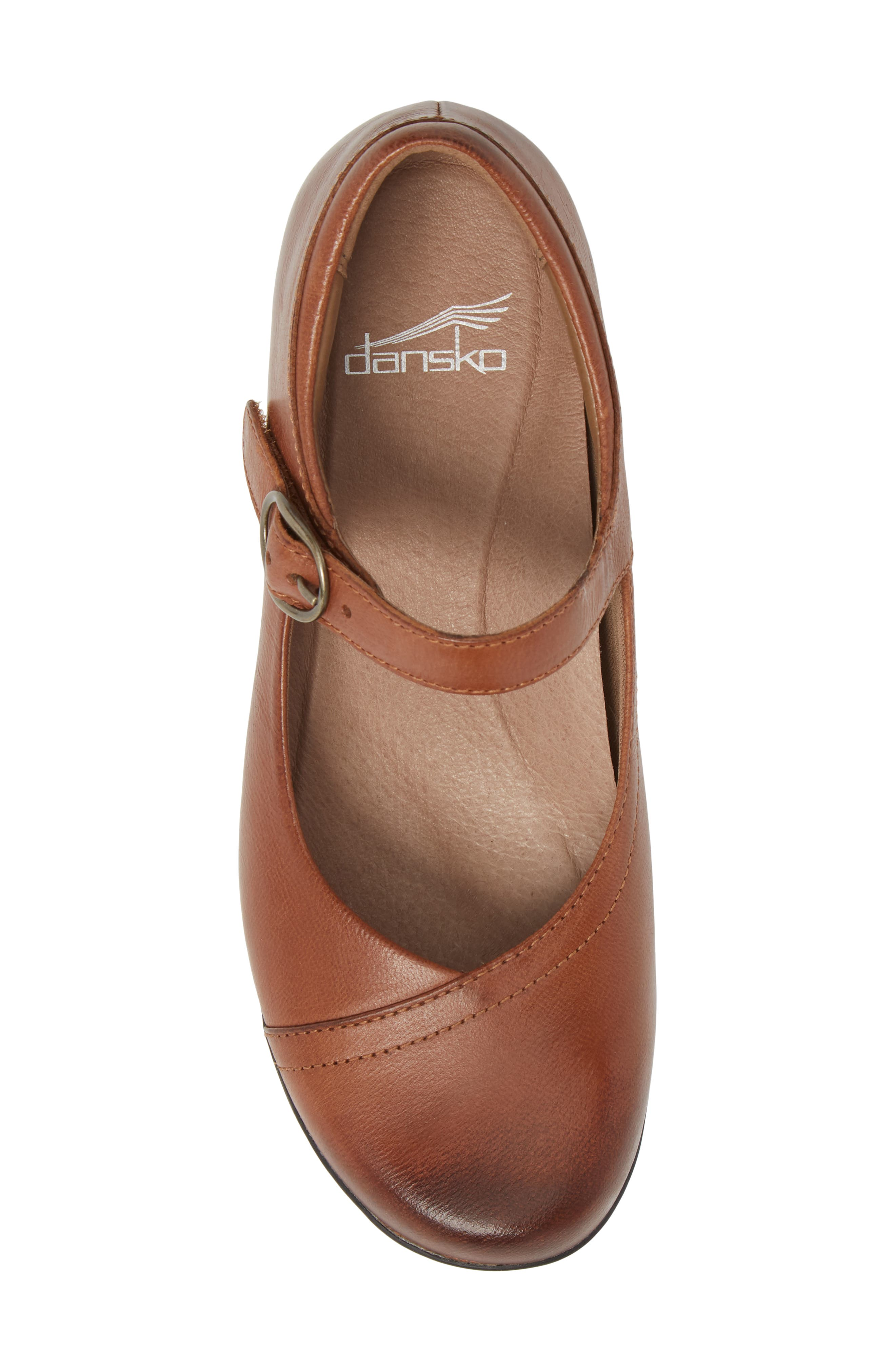 Fawna Mary Jane Flat,                             Alternate thumbnail 5, color,                             Chestnut Leather