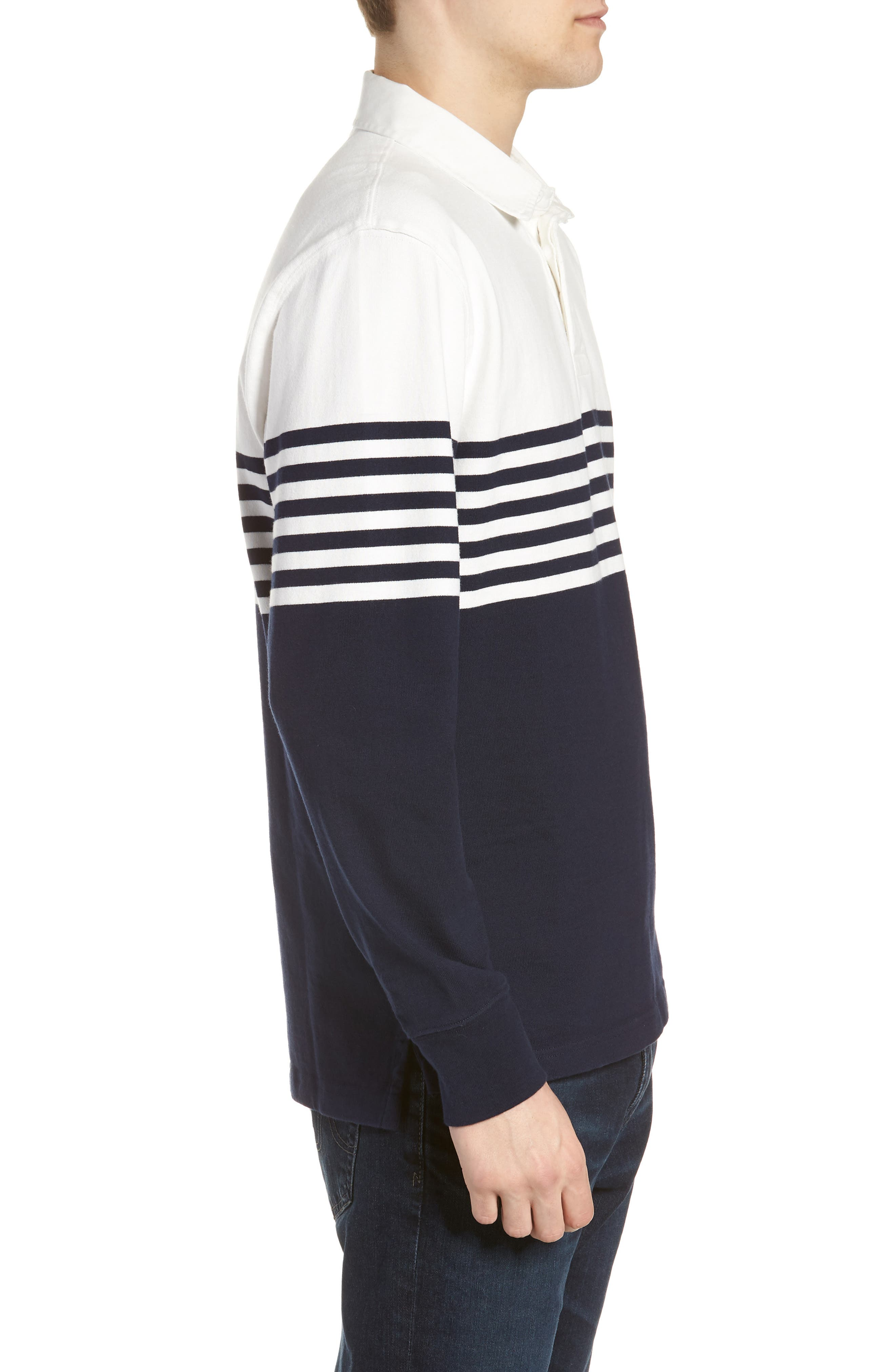 1984 Colorblock Stripe Rugby Shirt,                             Alternate thumbnail 3, color,                             Navy White