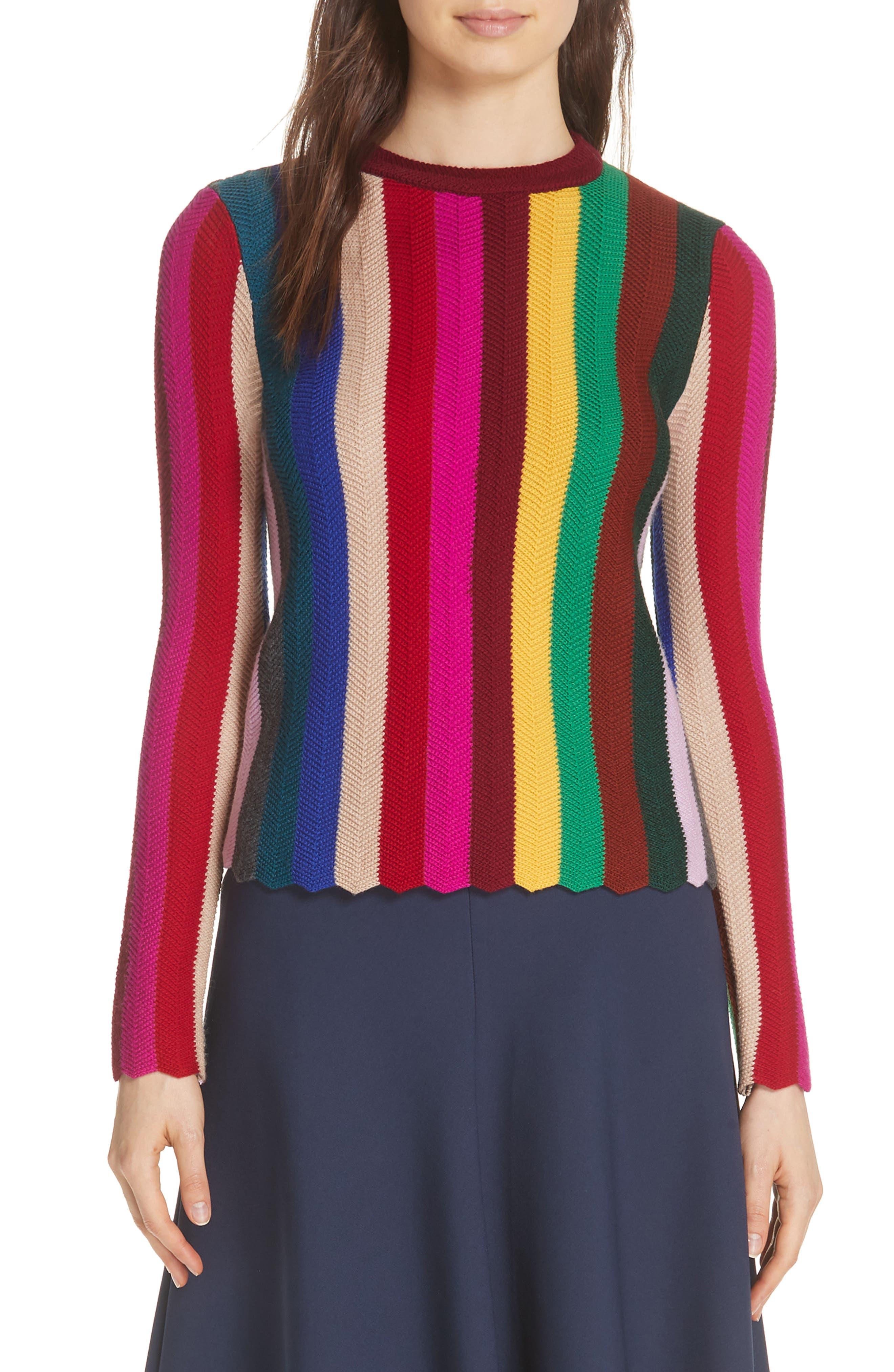 Chevron Vertical Stripe Wool Blend Scallop Hem Sweater,                             Main thumbnail 1, color,                             Rainbow Multi