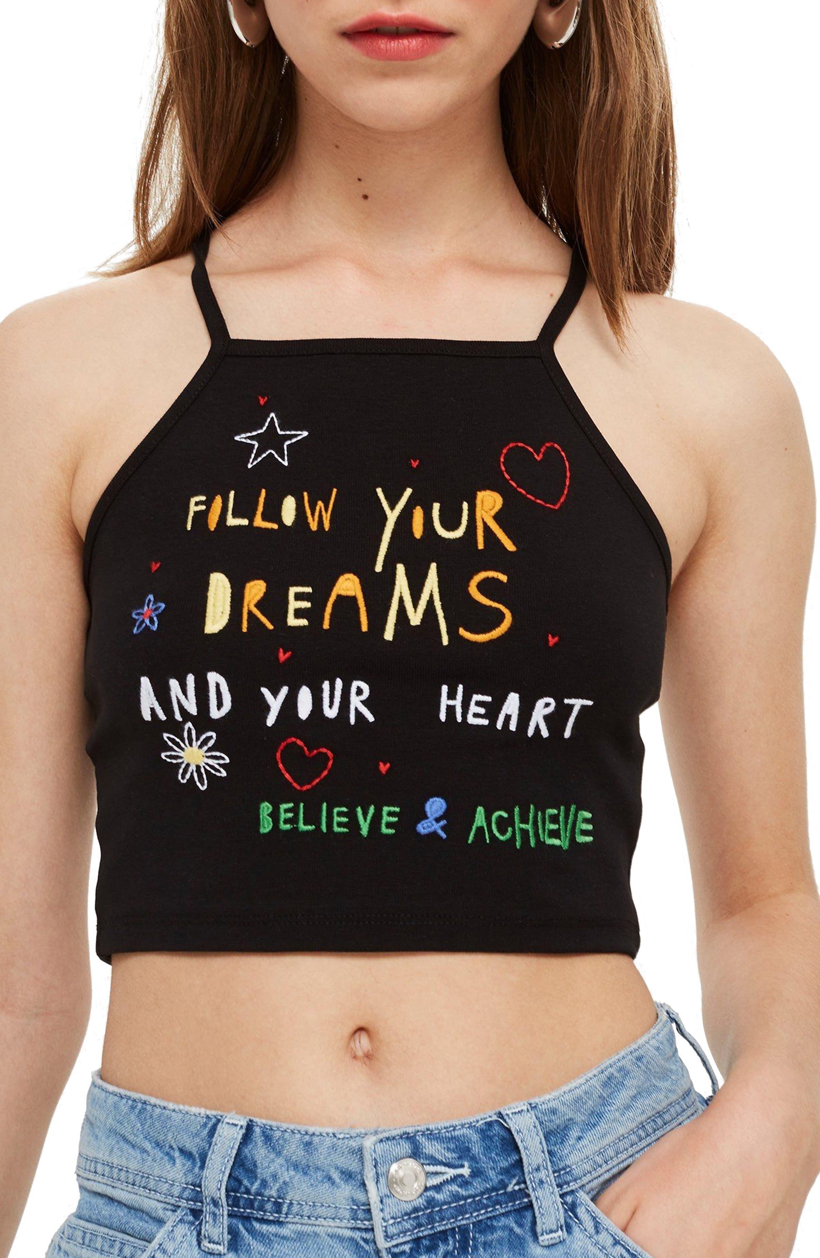 Follow Dreams Crop Top,                         Main,                         color, Black Multi