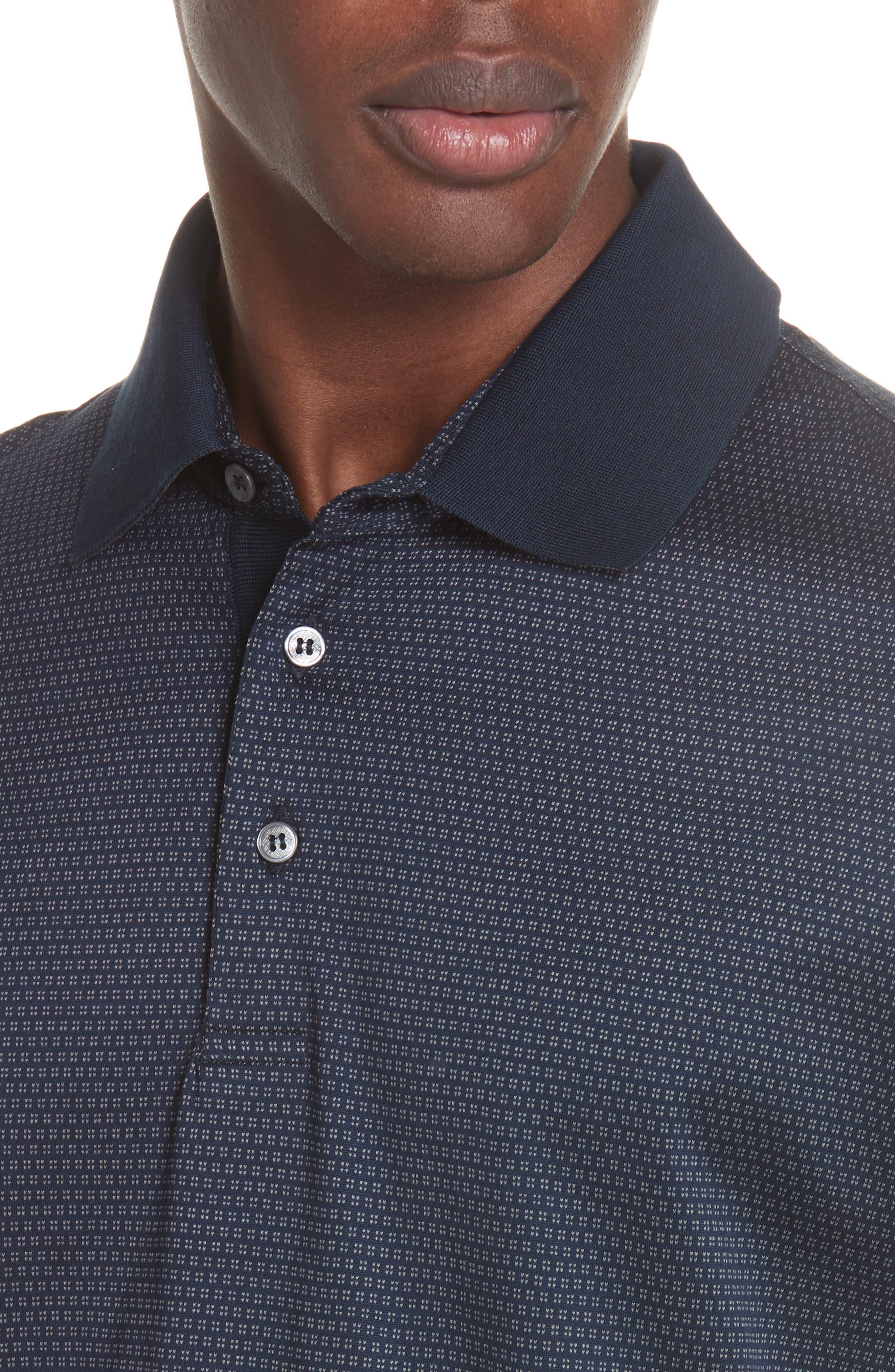 Geometric Cotton Polo Shirt,                             Alternate thumbnail 3, color,                             Navy