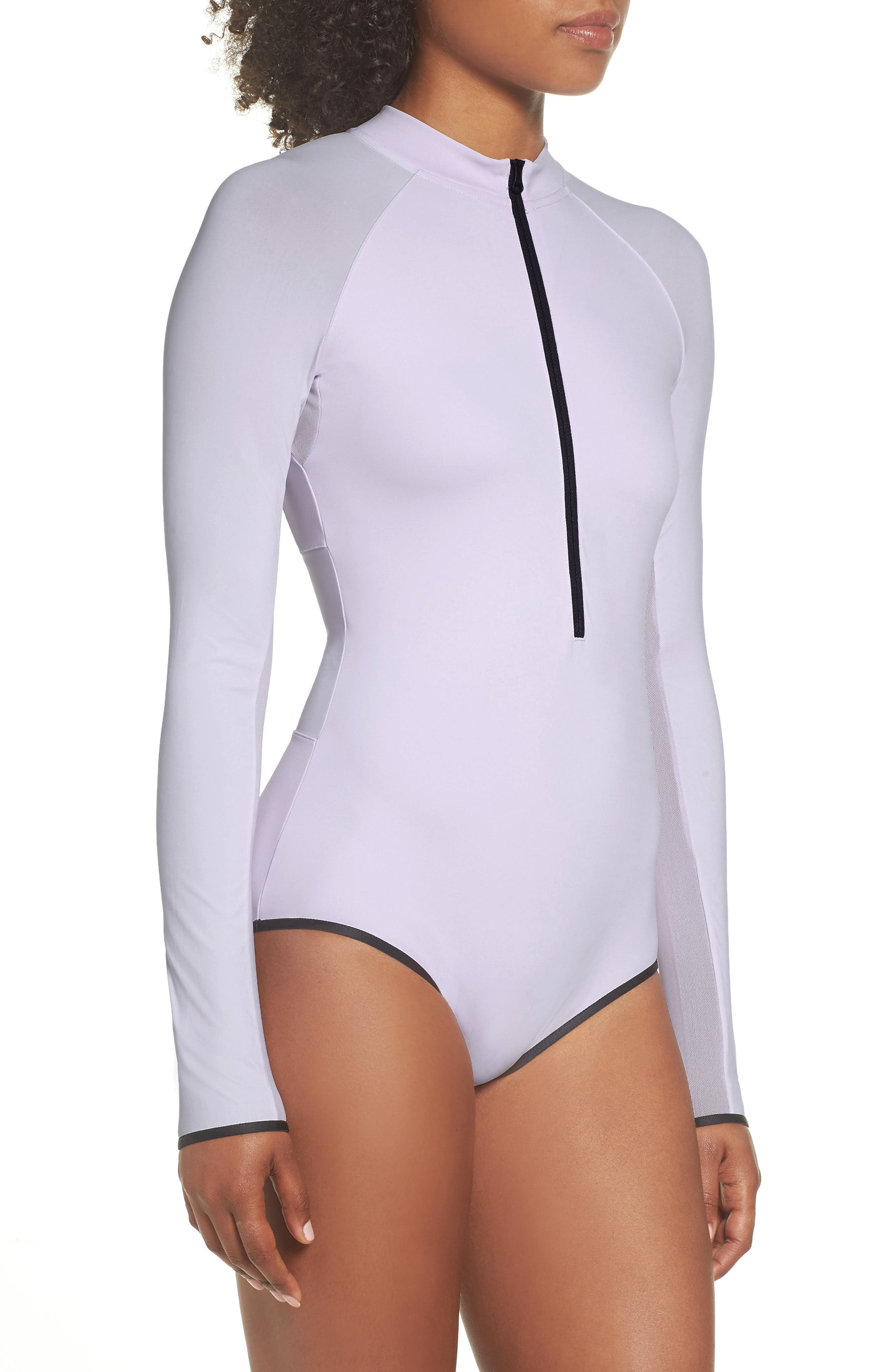 NRG Women's Dri-FIT Long Sleeve Bodysuit,                             Alternate thumbnail 3, color,                             Barely Grape/ Barely Grape