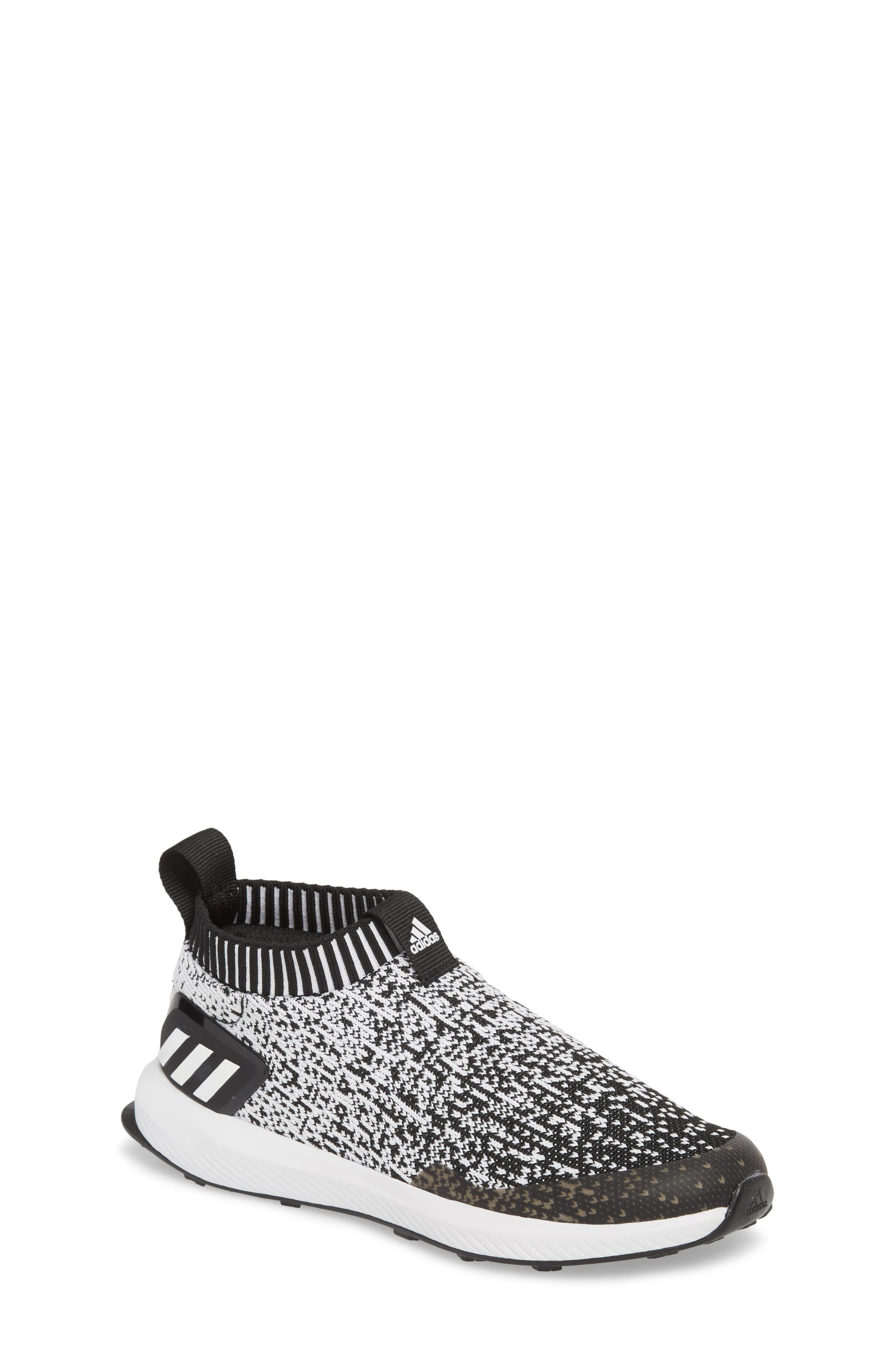 RapidaRun Laceless Knit Sneaker,                         Main,                         color, Black/ White/ Black