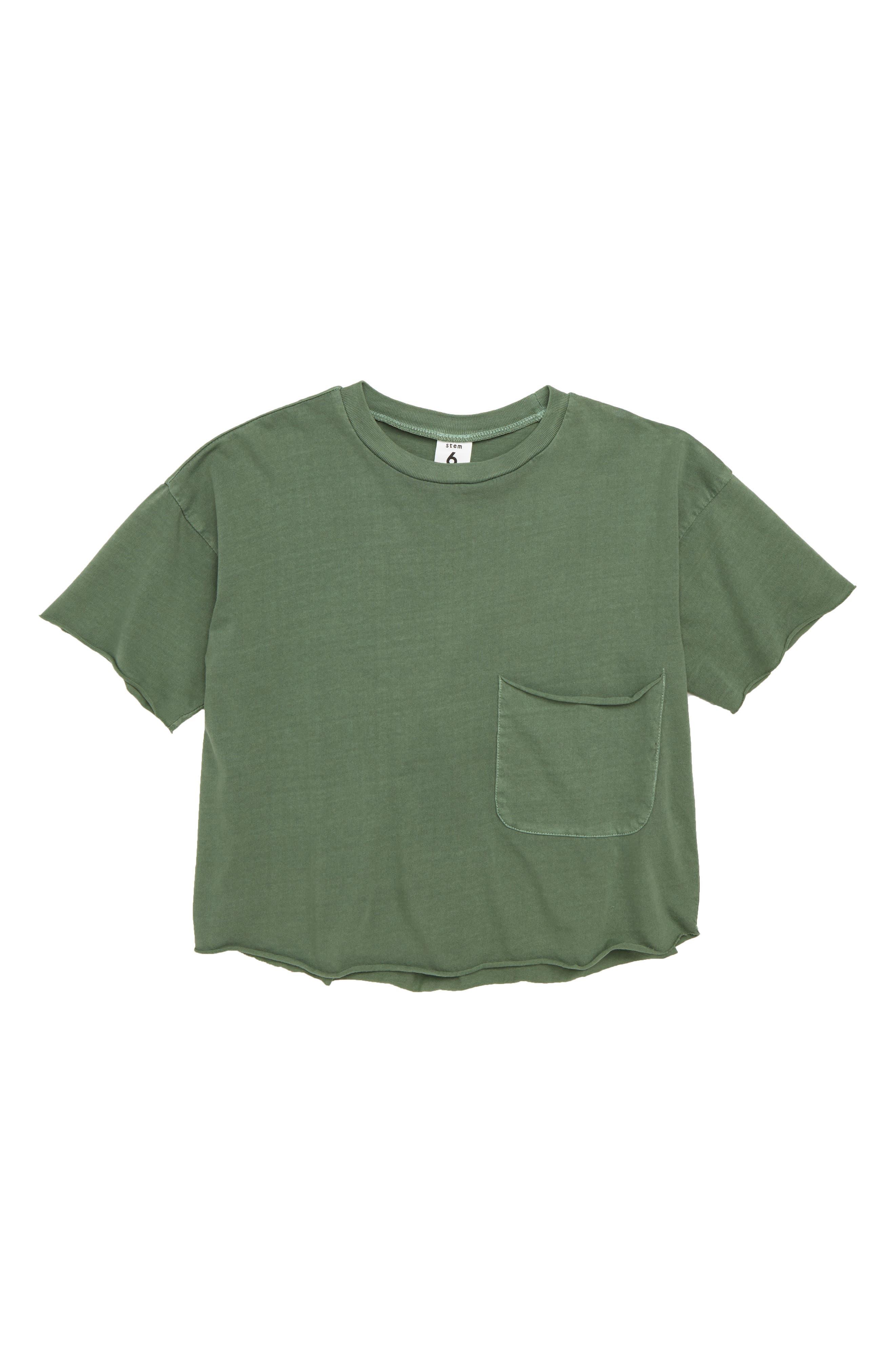 Raw Edge Pocket T-Shirt,                         Main,                         color, Green Agave